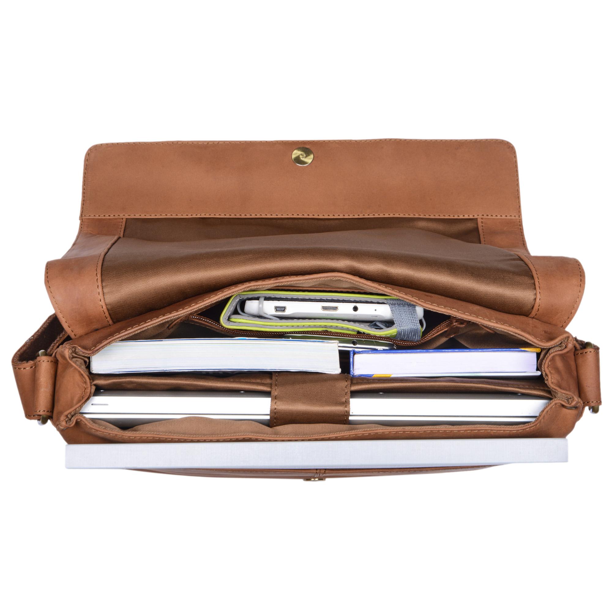 """STILORD """"Till"""" Leder Umhängetasche 13 Zoll große Vintage Schultertasche für Herren Damen Laptoptasche DIN A4 Unitasche Bürotasche aus echtem Büffel-Leder - Bild 12"""
