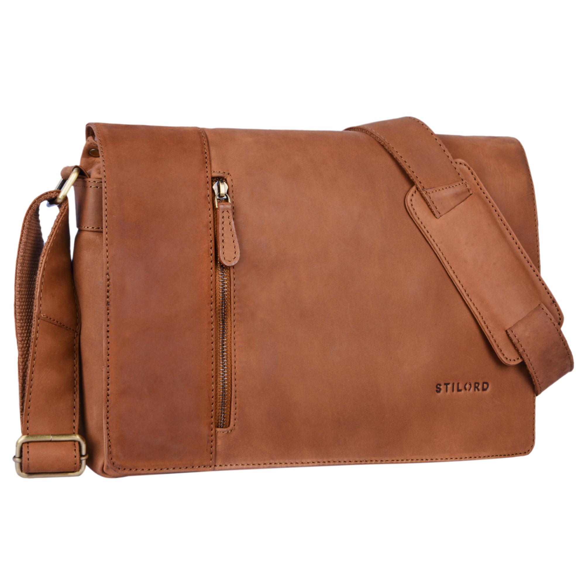 """STILORD """"Till"""" Leder Umhängetasche 13 Zoll große Vintage Schultertasche für Herren Damen Laptoptasche DIN A4 Unitasche Bürotasche aus echtem Büffel-Leder - Bild 8"""