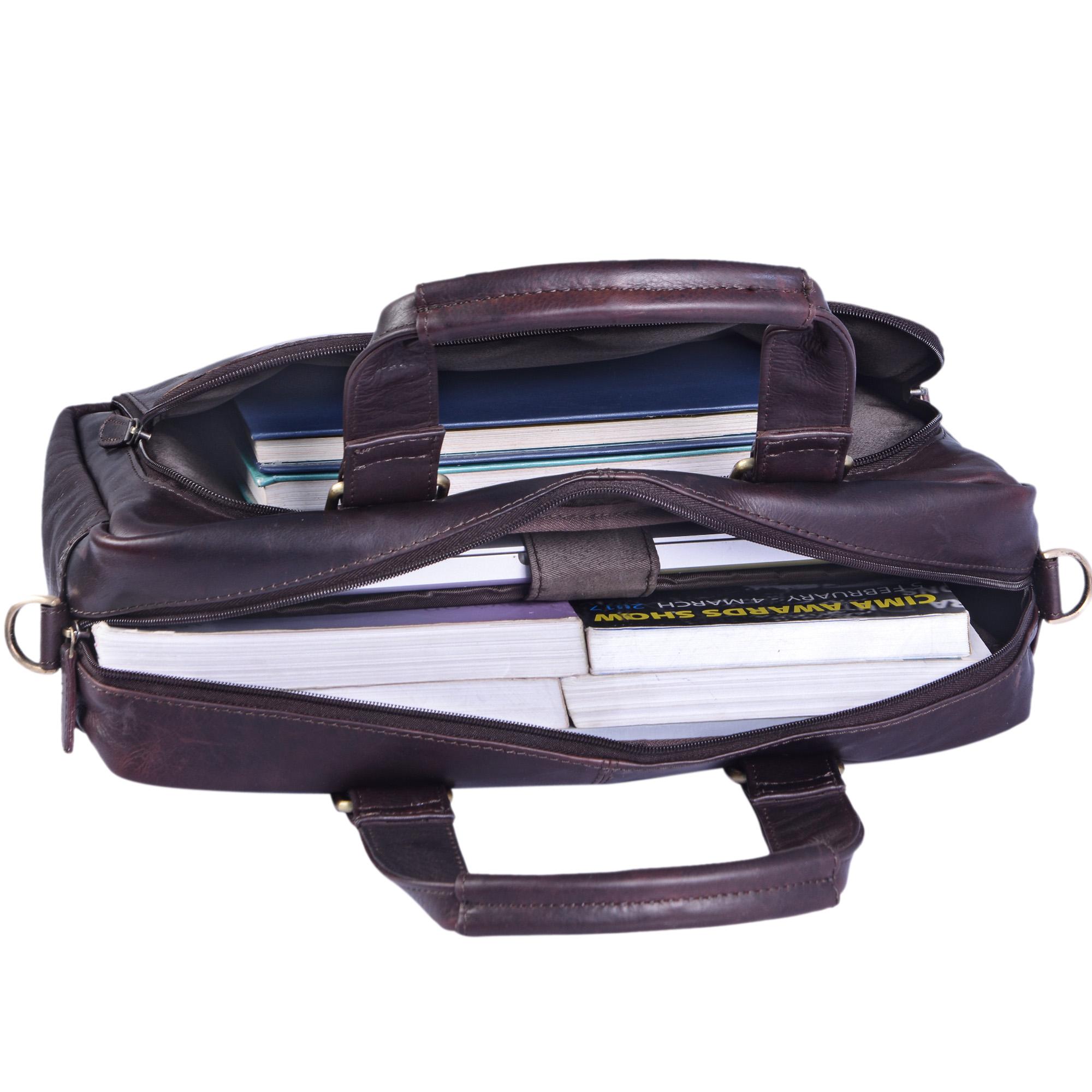 """STILORD """"Jon"""" Vintage Leder Umhängetasche Herren Damen Laptoptasche 15.6 Zoll für große DIN A4 Aktenordner Business Büro Arbeit Uni echtes Büffelleder - Bild 6"""