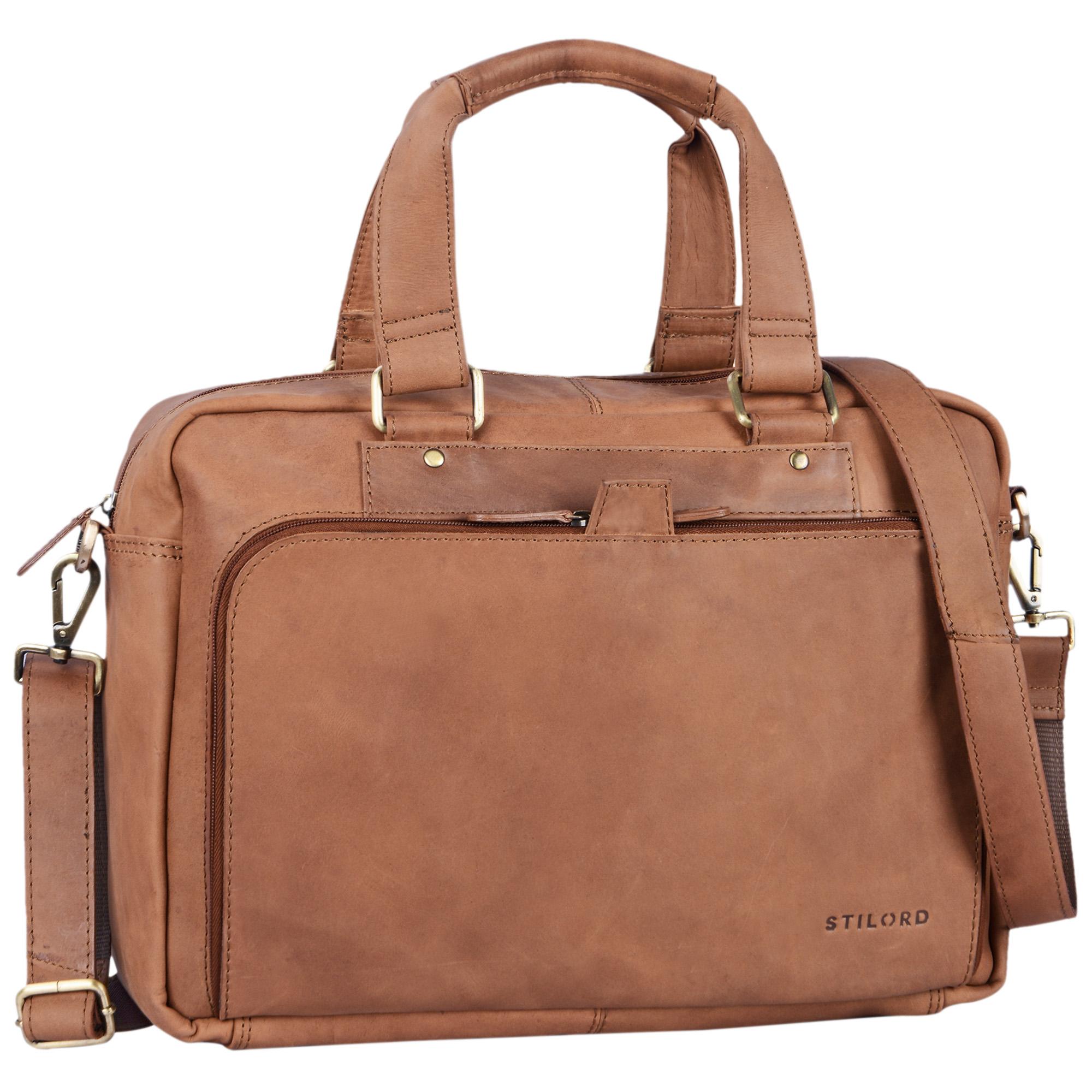 """STILORD """"Jon"""" Vintage Leder Umhängetasche Herren Damen Laptoptasche 15.6 Zoll für große DIN A4 Aktenordner Business Büro Arbeit Uni echtes Büffelleder - Bild 16"""