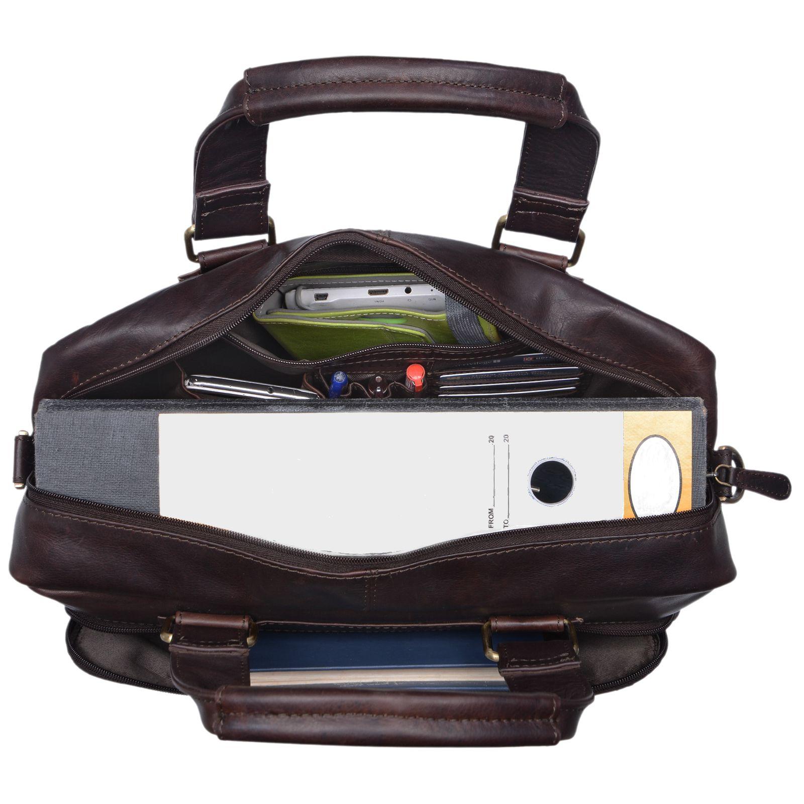 """STILORD """"Jon"""" Vintage Leder Umhängetasche Herren Damen Laptoptasche 15.6 Zoll für große DIN A4 Aktenordner Business Büro Arbeit Uni echtes Büffelleder - Bild 4"""