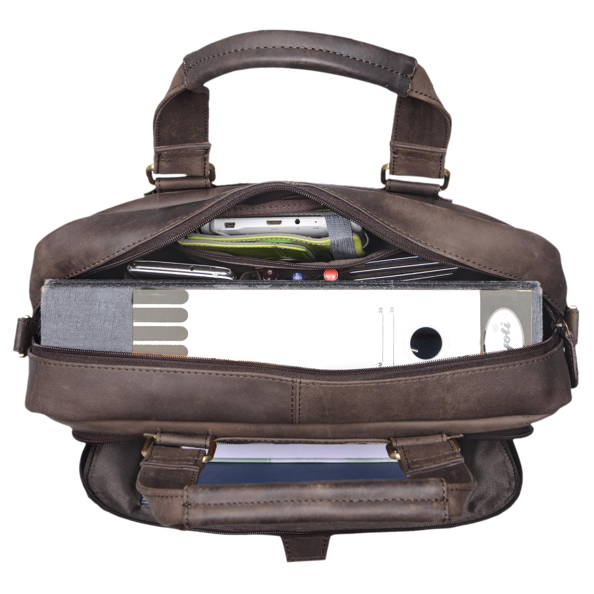 """STILORD """"Jon"""" Vintage Leder Umhängetasche Herren Damen Laptoptasche 15.6 Zoll für große DIN A4 Aktenordner Business Büro Arbeit Uni echtes Büffelleder - Bild 10"""