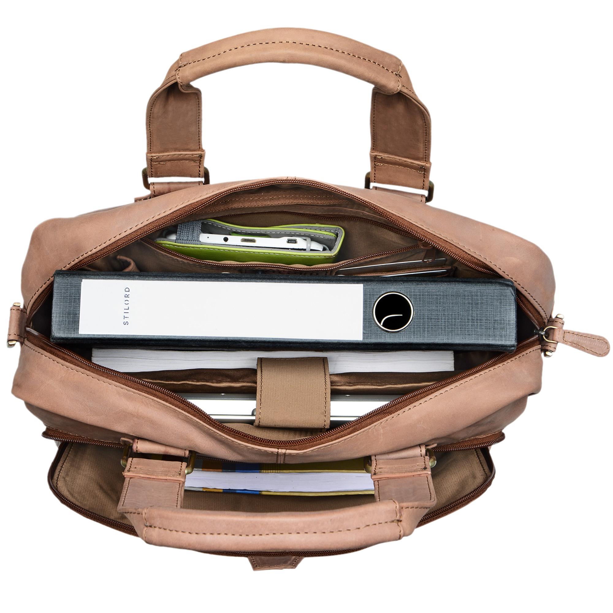 """STILORD """"Jon"""" Vintage Leder Umhängetasche Herren Damen Laptoptasche 15.6 Zoll für große DIN A4 Aktenordner Business Büro Arbeit Uni echtes Büffelleder - Bild 22"""