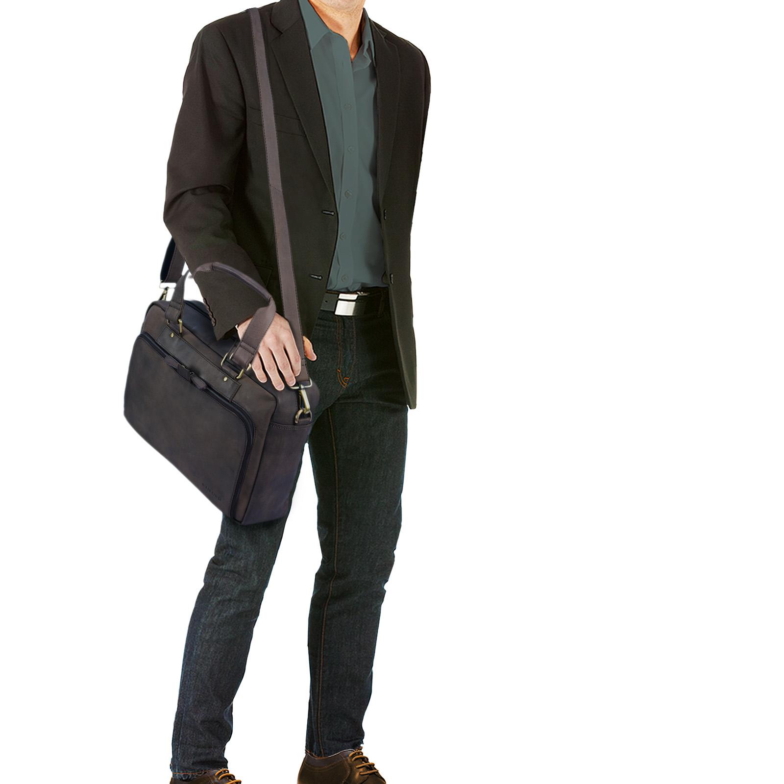 """STILORD """"Jon"""" Vintage Leder Umhängetasche Herren Damen Laptoptasche 15.6 Zoll für große DIN A4 Aktenordner Business Büro Arbeit Uni echtes Büffelleder - Bild 8"""