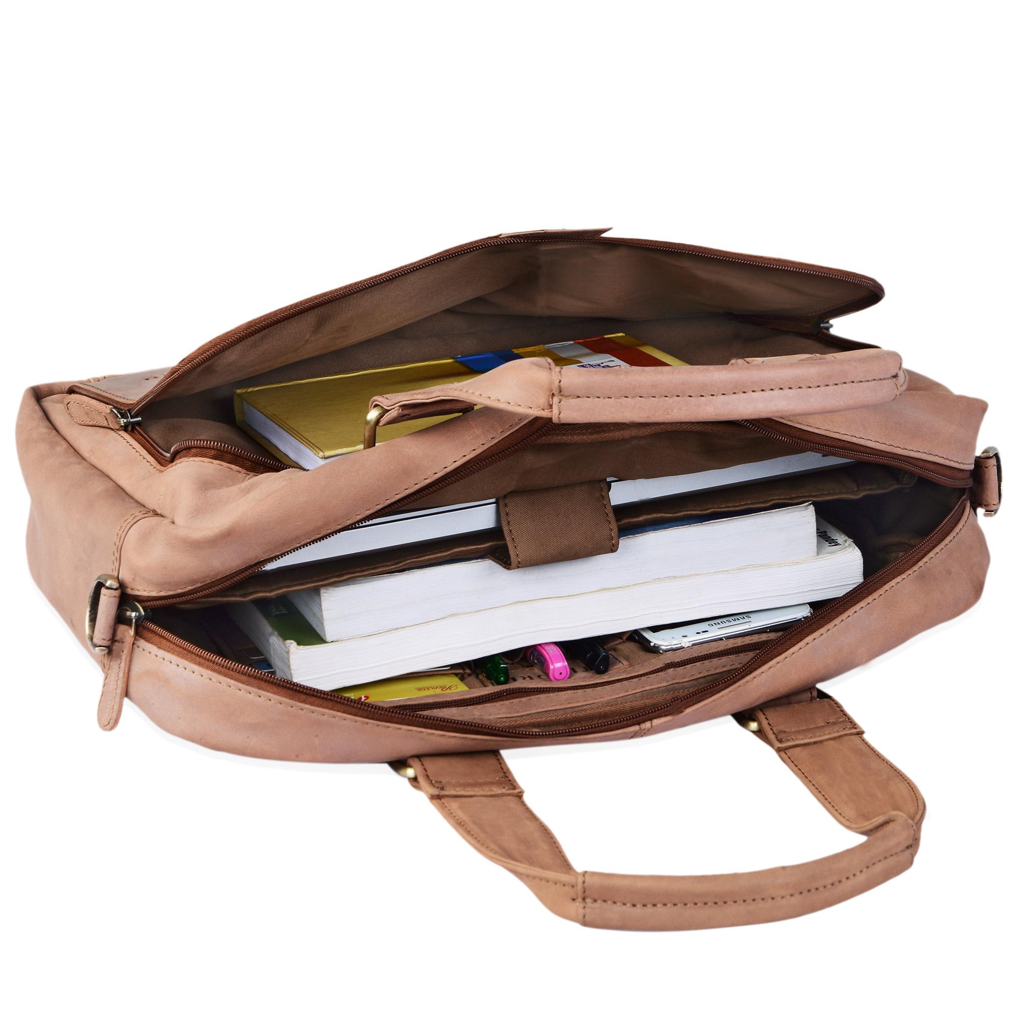 """STILORD """"Jon"""" Vintage Leder Umhängetasche Herren Damen Laptoptasche 15.6 Zoll für große DIN A4 Aktenordner Business Büro Arbeit Uni echtes Büffelleder - Bild 23"""