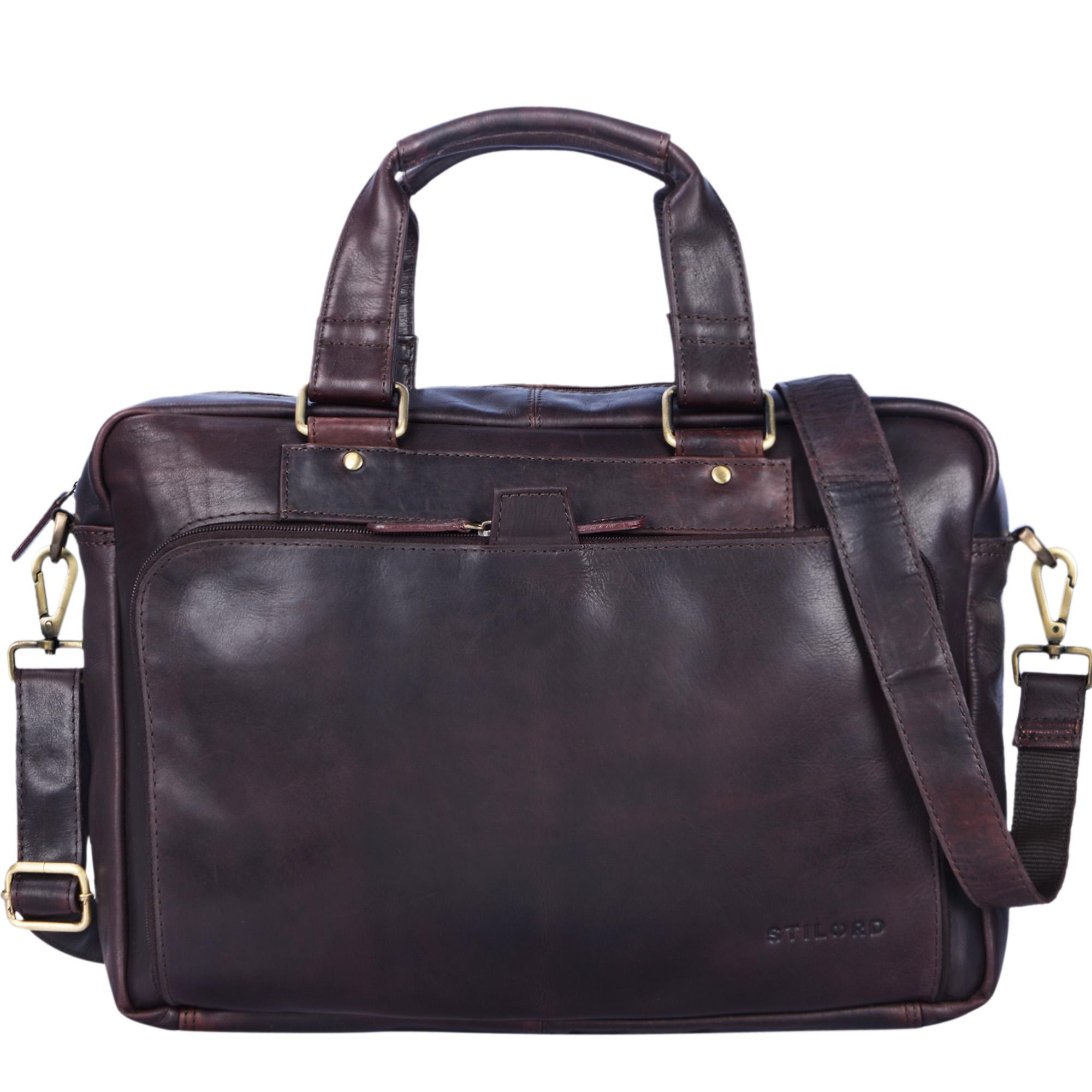 """STILORD """"Jon"""" Vintage Leder Umhängetasche Herren Damen Laptoptasche 15.6 Zoll für große DIN A4 Aktenordner Business Büro Arbeit Uni echtes Büffelleder - Bild 3"""