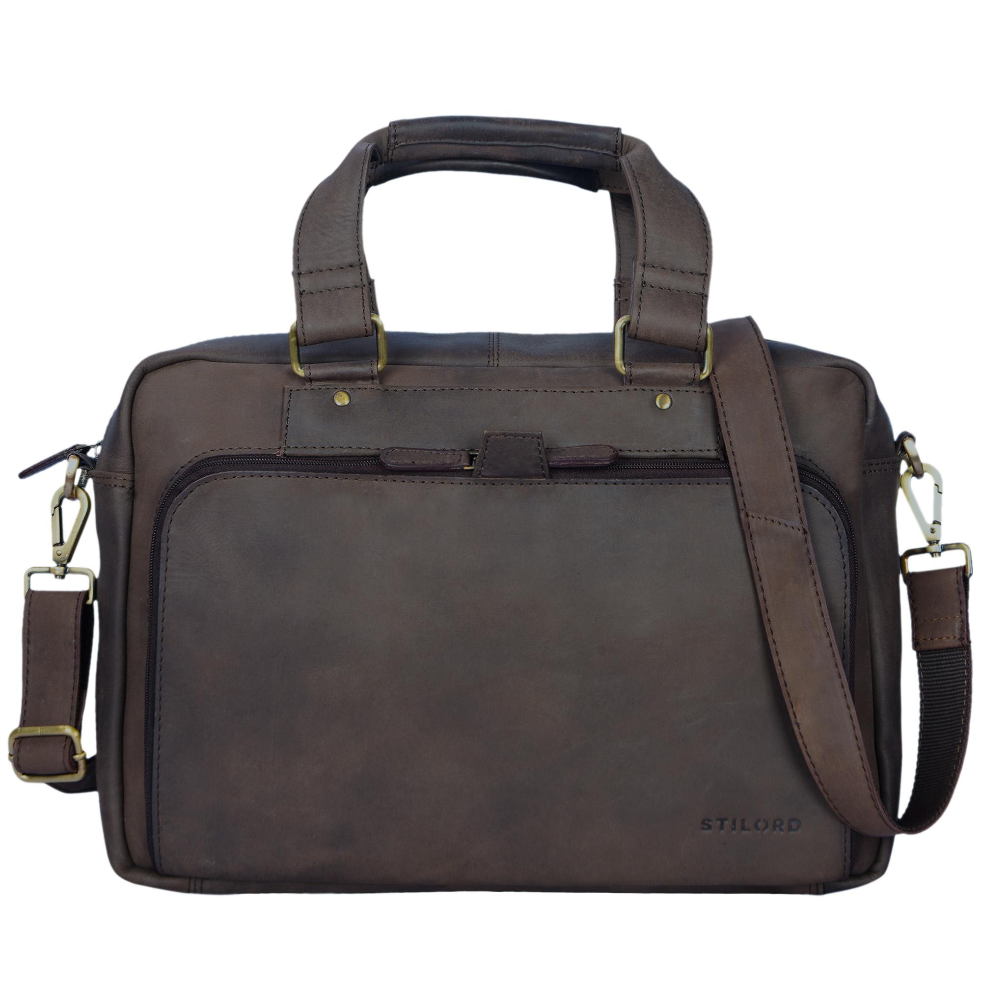 """STILORD """"Jon"""" Vintage Leder Umhängetasche Herren Damen Laptoptasche 15.6 Zoll für große DIN A4 Aktenordner Business Büro Arbeit Uni echtes Büffelleder - Bild 9"""