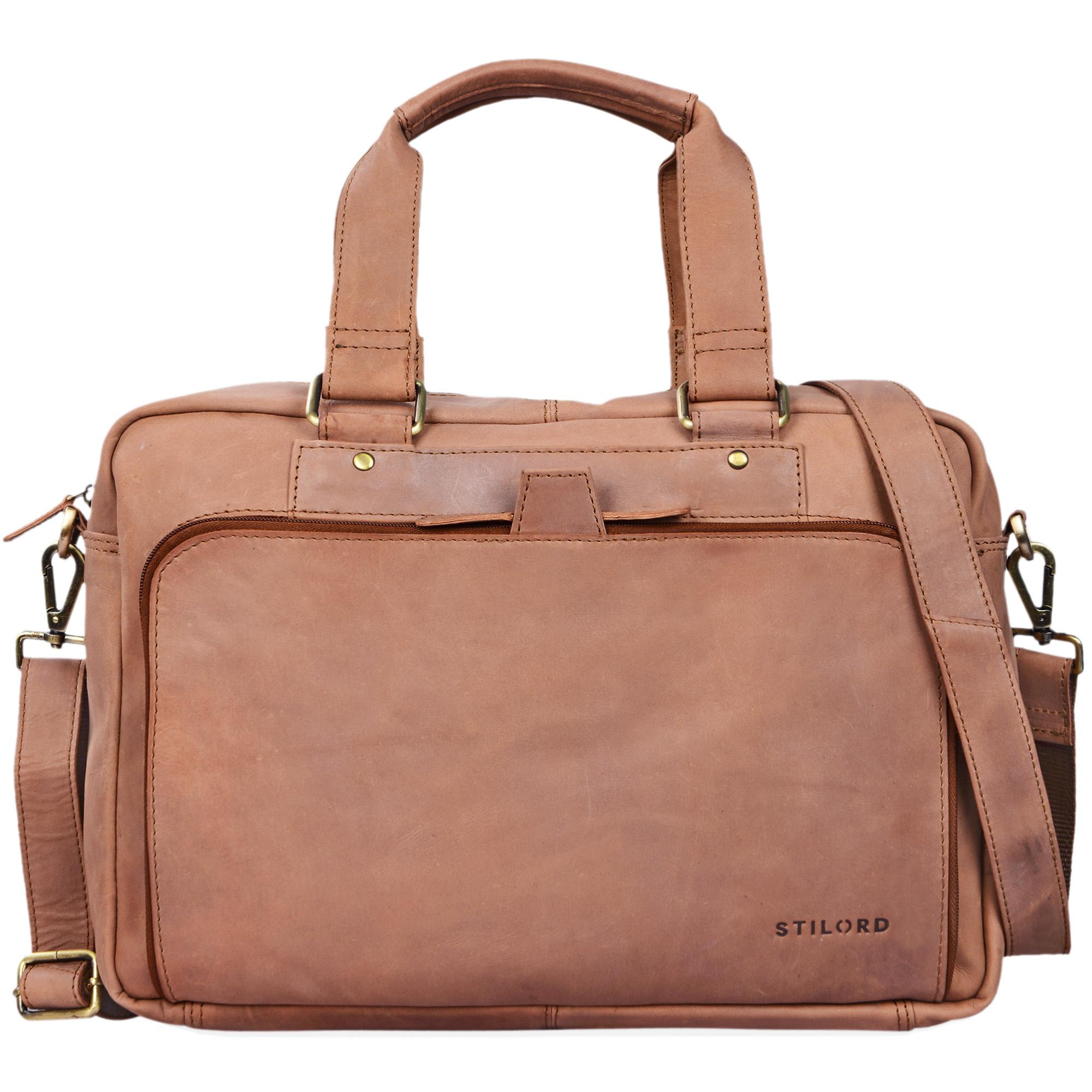 """STILORD """"Jon"""" Vintage Leder Umhängetasche Herren Damen Laptoptasche 15.6 Zoll für große DIN A4 Aktenordner Business Büro Arbeit Uni echtes Büffelleder - Bild 20"""