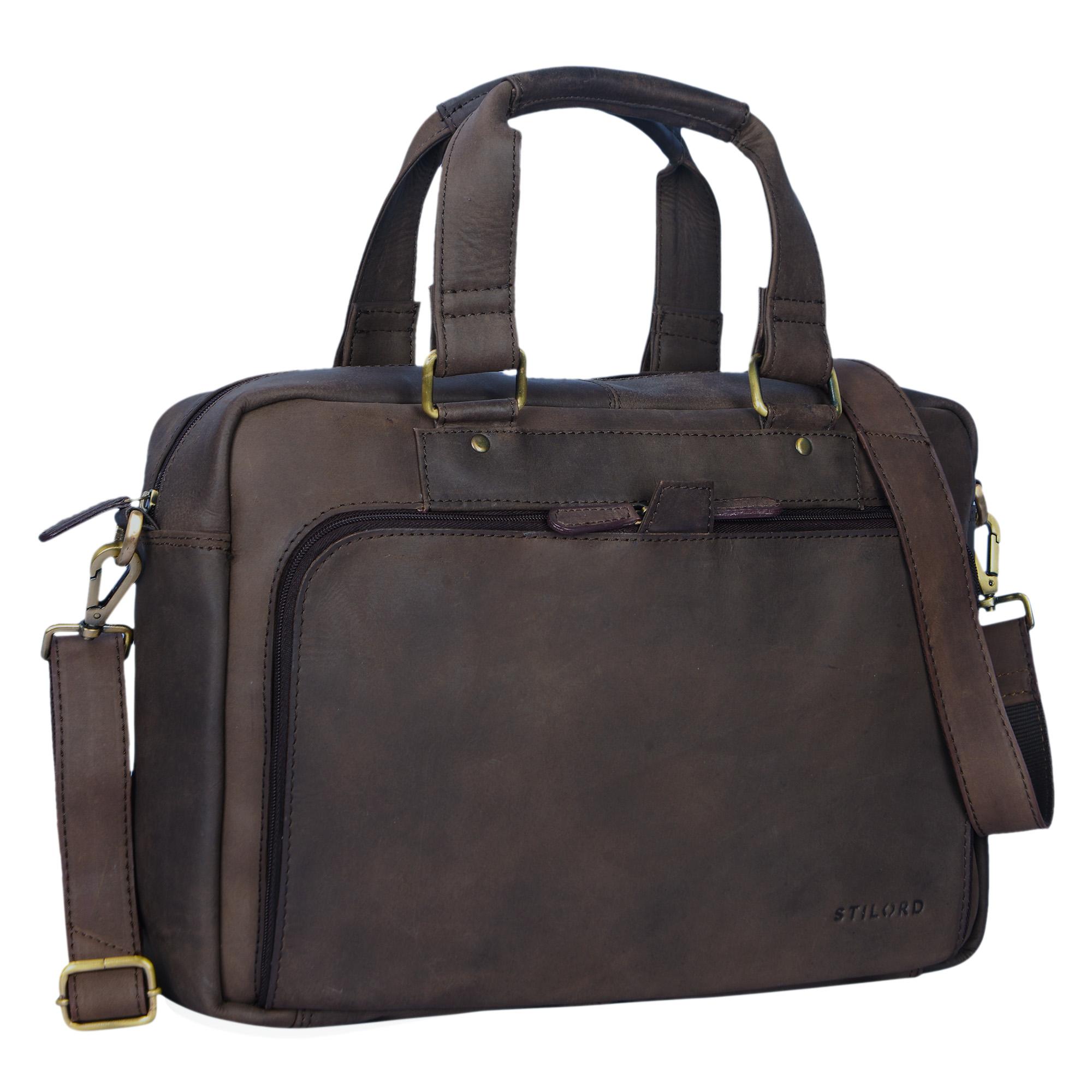 """STILORD """"Jon"""" Vintage Leder Umhängetasche Herren Damen Laptoptasche 15.6 Zoll für große DIN A4 Aktenordner Business Büro Arbeit Uni echtes Büffelleder - Bild 7"""