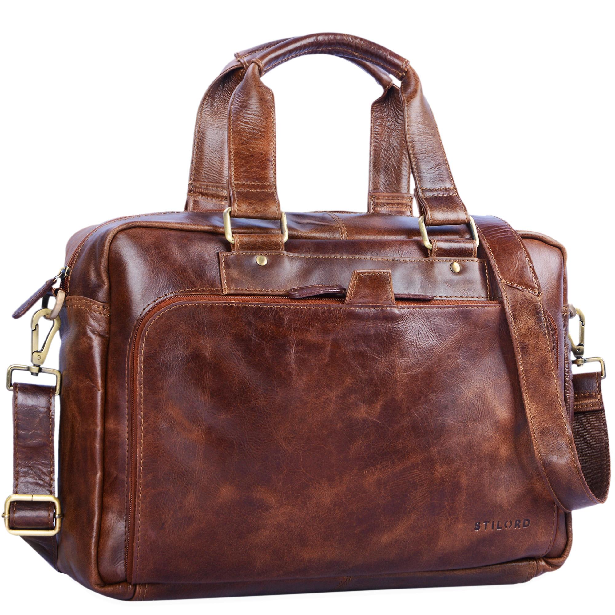 """STILORD """"Jon"""" Vintage Leder Umhängetasche Herren Damen Laptoptasche 15.6 Zoll für große DIN A4 Aktenordner Business Büro Arbeit Uni echtes Büffelleder - Bild 12"""