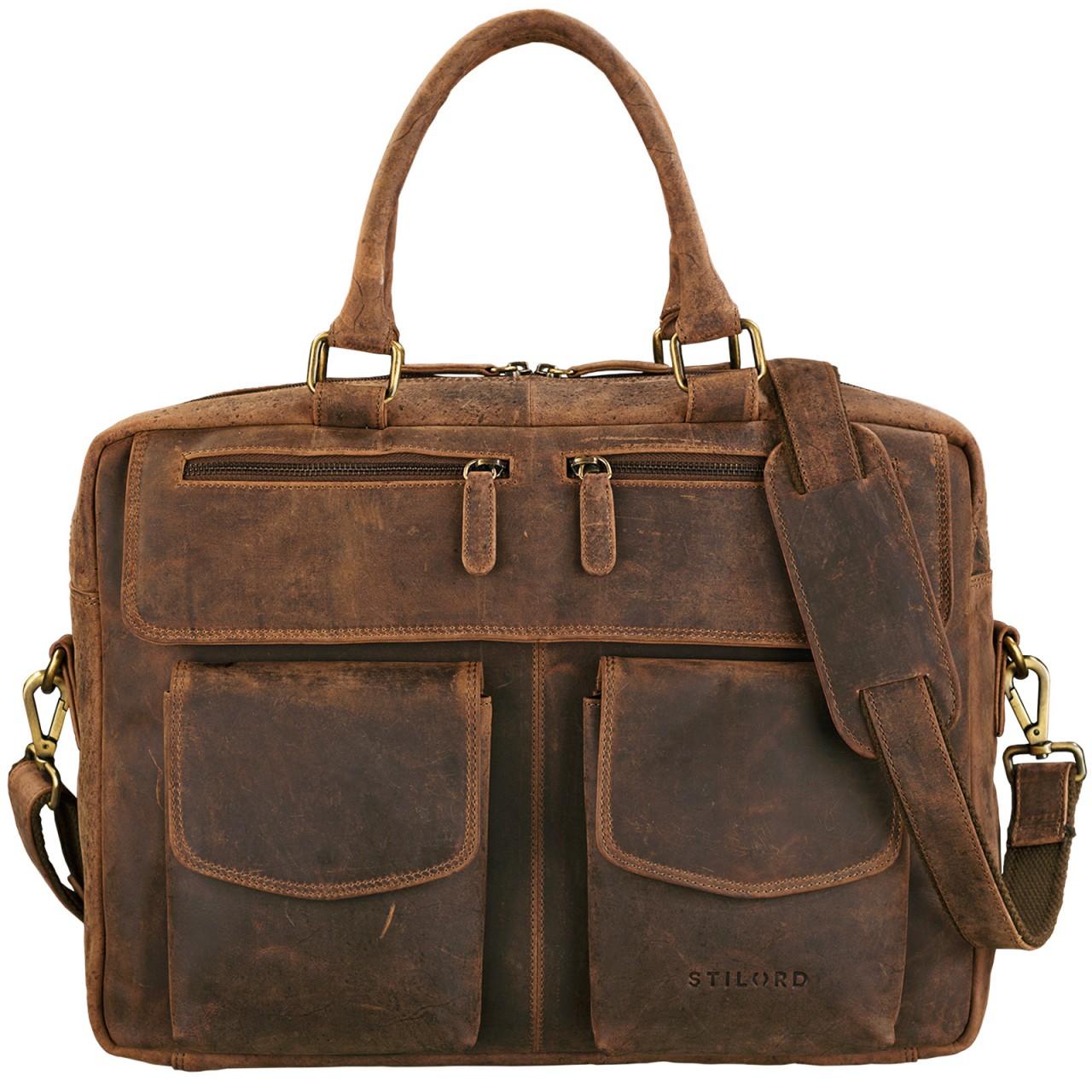 """STILORD """"Kansas"""" Umhängetasche Leder 15,6 Zoll Laptoptasche Vintage Herren Damen Schultertasche groß Uni Büro Freizeit Antikleder - Bild 15"""