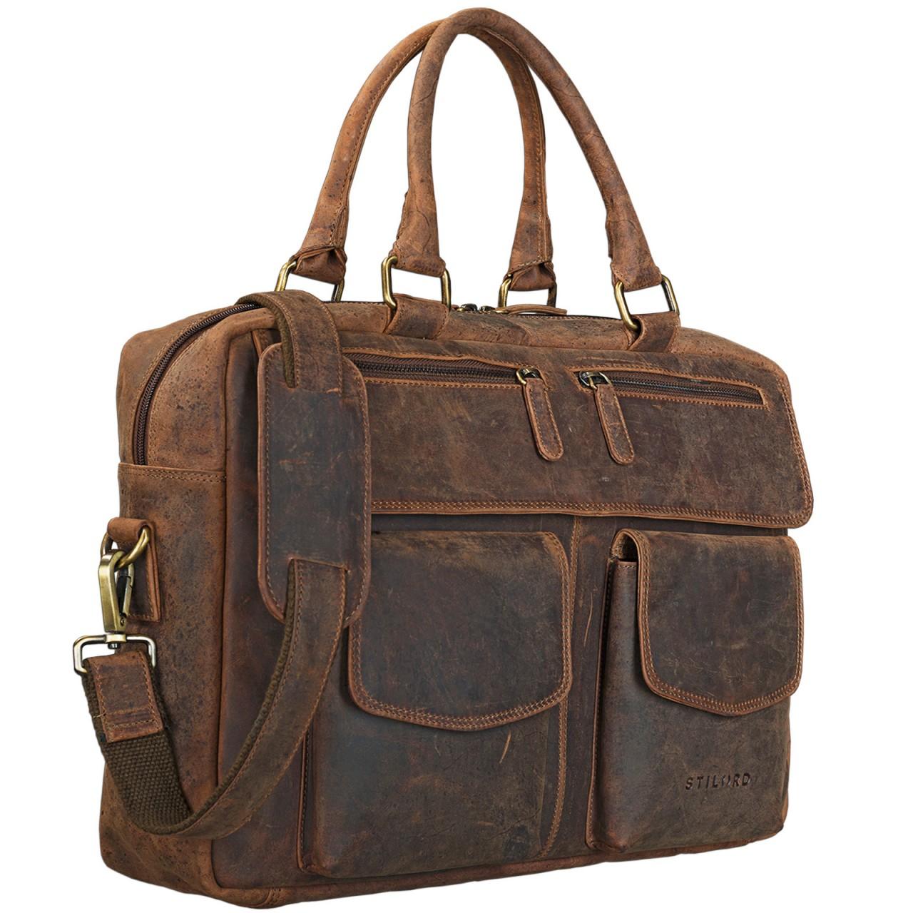 """STILORD """"Kansas"""" Umhängetasche Leder 15,6 Zoll Laptoptasche Vintage Herren Damen Schultertasche groß Uni Büro Freizeit Antikleder - Bild 17"""