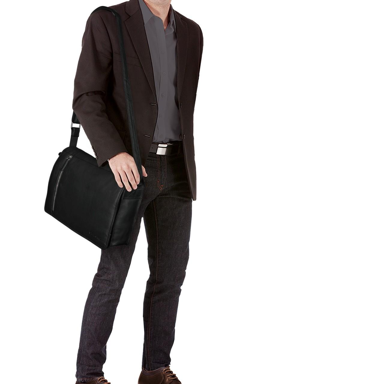 """STILORD """"Noah"""" Vintage Umhängetasche Leder 13,3 Zoll Laptoptasche Studium Uni Büro Arbeit Unisex für MacBook echtes Rindsleder - Bild 9"""