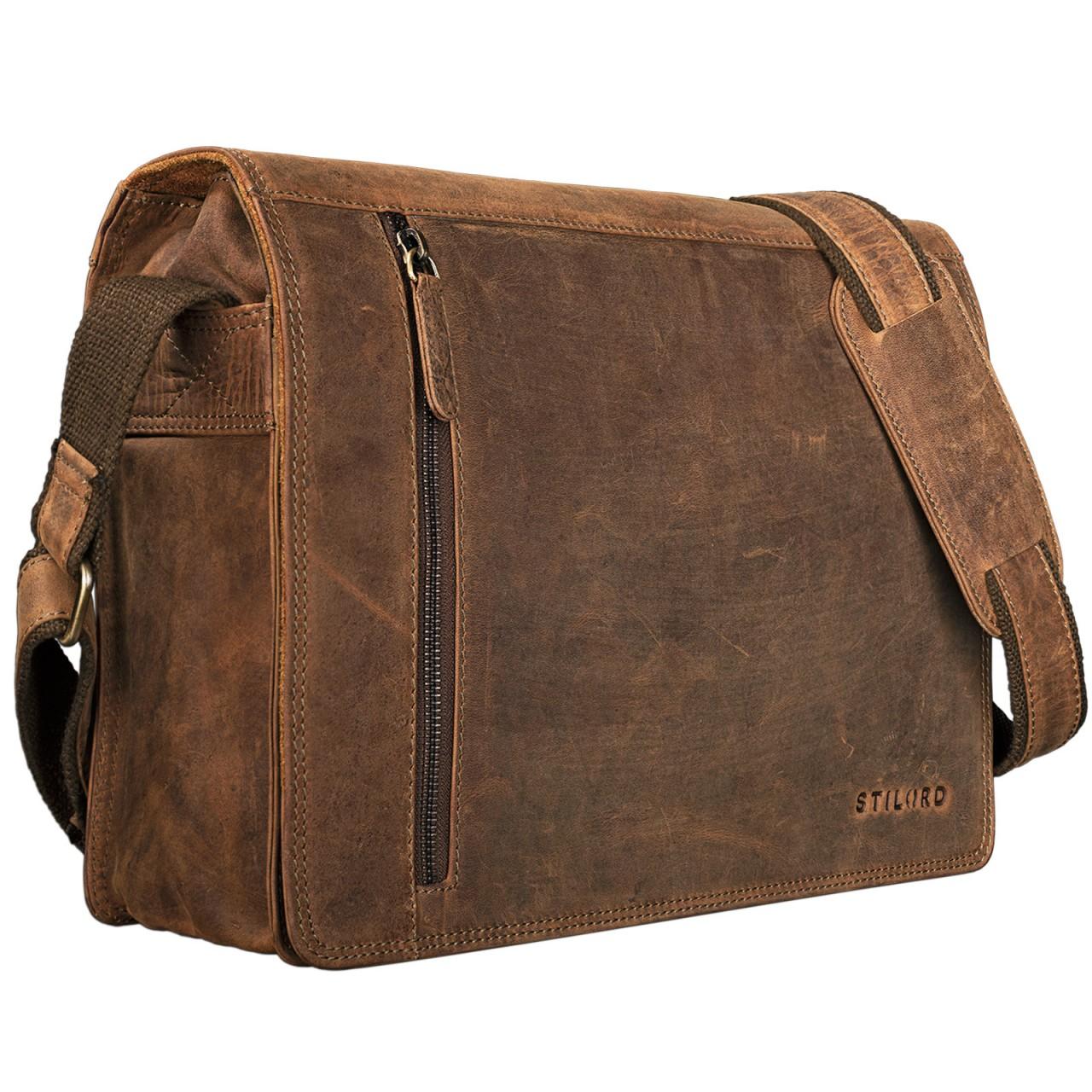 """STILORD """"Noah"""" Vintage Umhängetasche Leder 13,3 Zoll Laptoptasche Studium Uni Büro Arbeit Unisex für MacBook echtes Rindsleder - Bild 15"""
