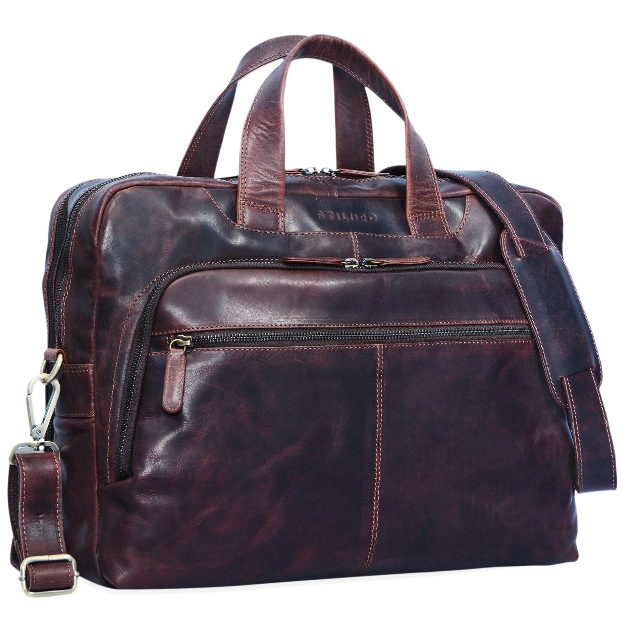 "STILORD ""Lias"" Umhängetasche Leder Herren Vintage 15,6 Zoll Laptoptasche groß Arbeit Büro Uni Antik Leder  - Bild 9"