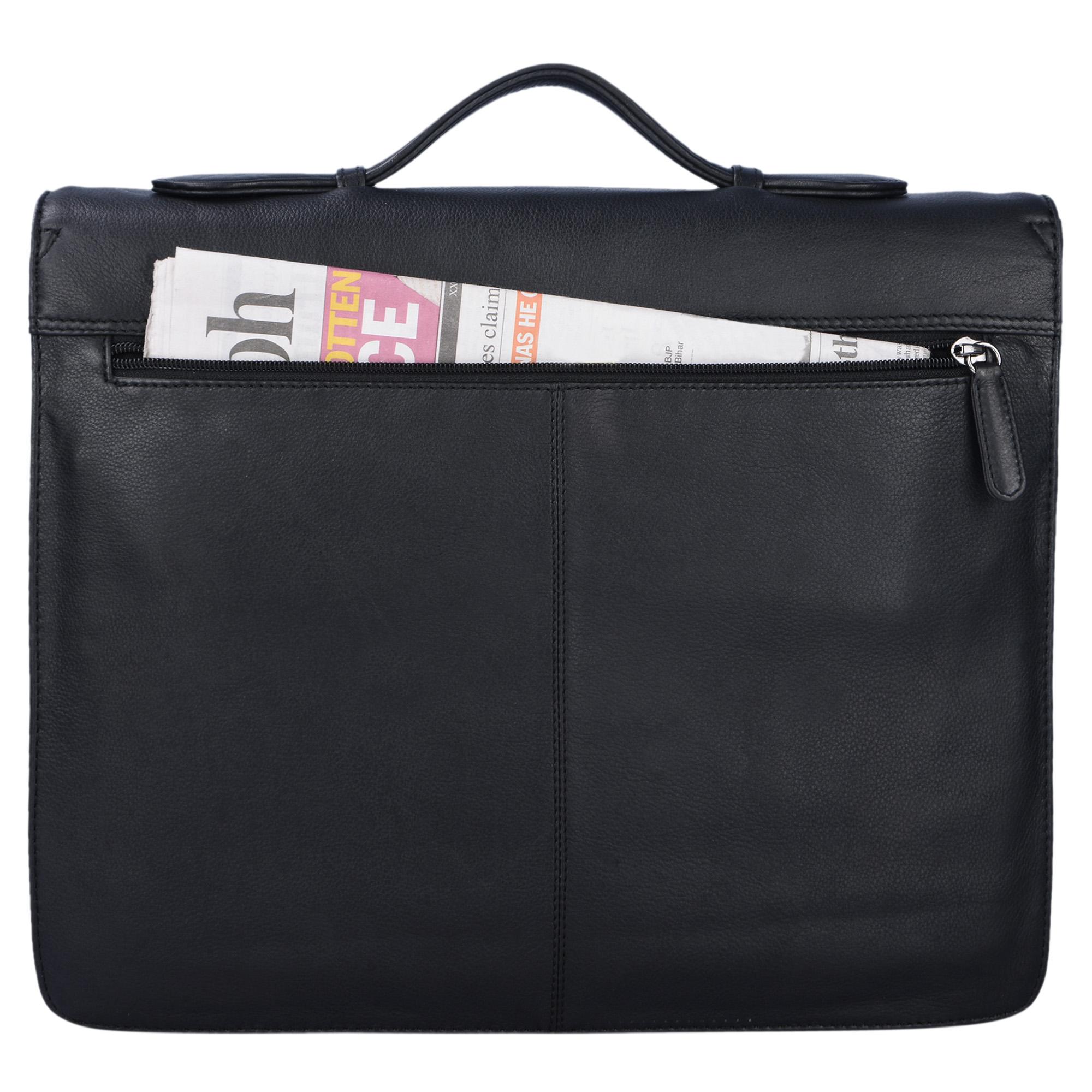 """STILORD """"Aurelio"""" Vintage Konferenzmappe Leder mit Griff A4 Aktentasche schmal Aktenmappe Dokumentenmappe mit Henkel für 13,3 Zoll MacBooks echtes Rindsleder - Bild 10"""