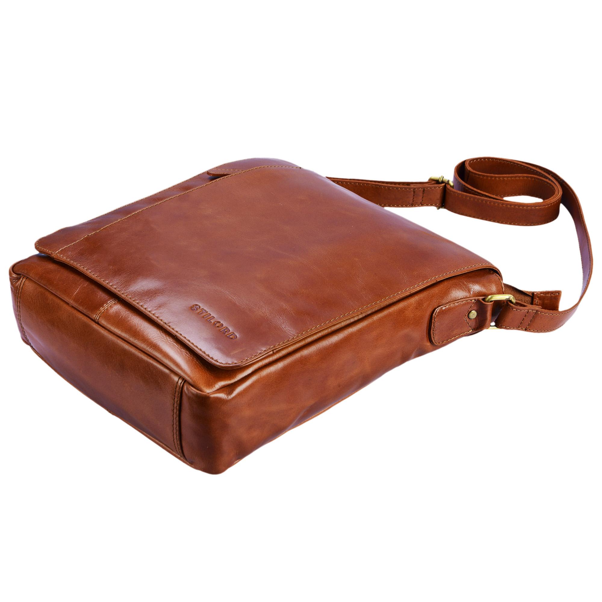"""STILORD """"Paul"""" Umhängetasche Herren Leder Hochformat braune Messenger Bag im Vintage Design Ledertasche für 13,3 Zoll MacBook iPad DIN A4 Herrentasche Echtleder - Bild 14"""