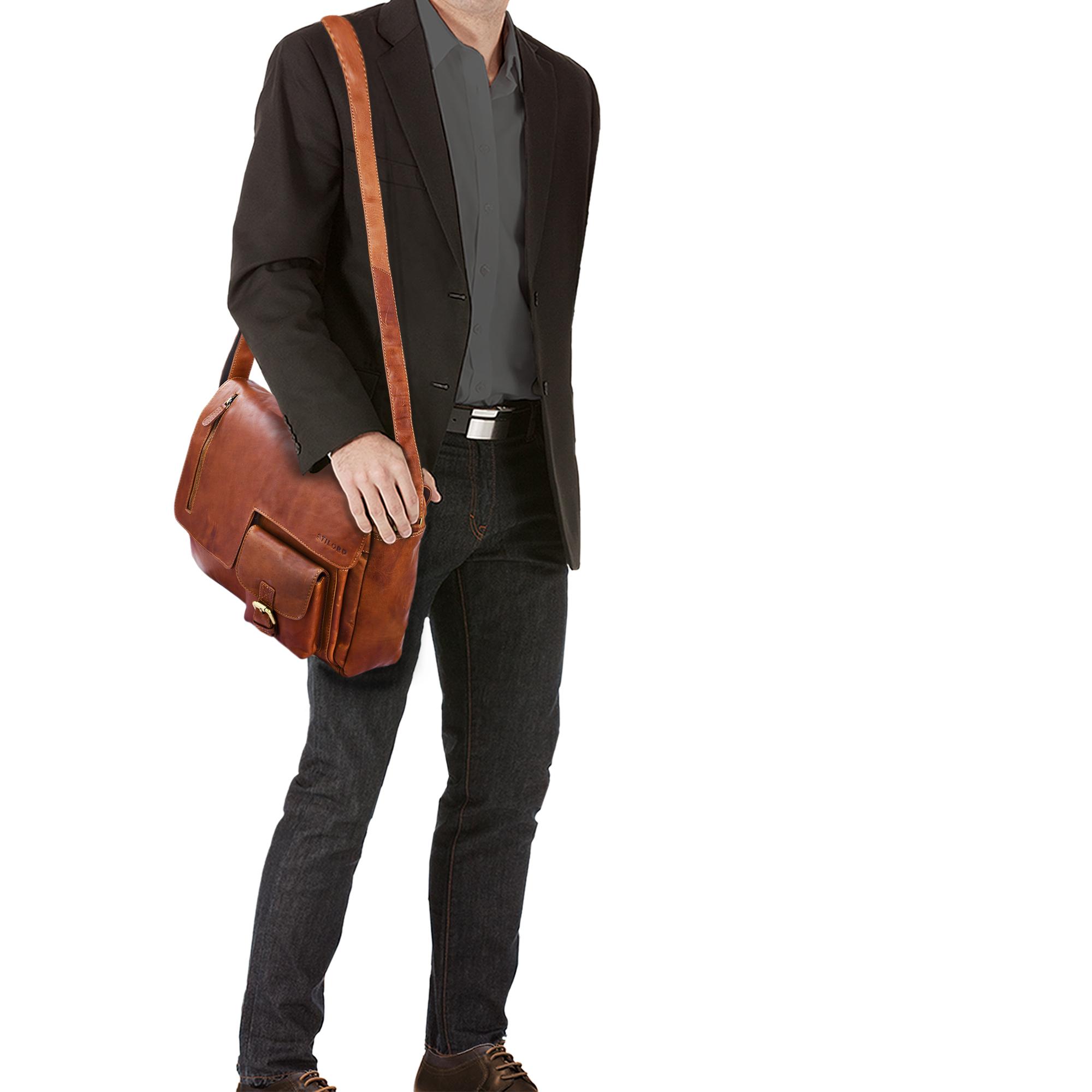 """STILORD """"Mika"""" Ledertasche Vintage braun Herren Damen für Uni Büro Arbeit große Umhängetasche Aktentasche für DIN A4 Aktenordner Laptoptasche 15.6 Zoll Echtleder - Bild 9"""