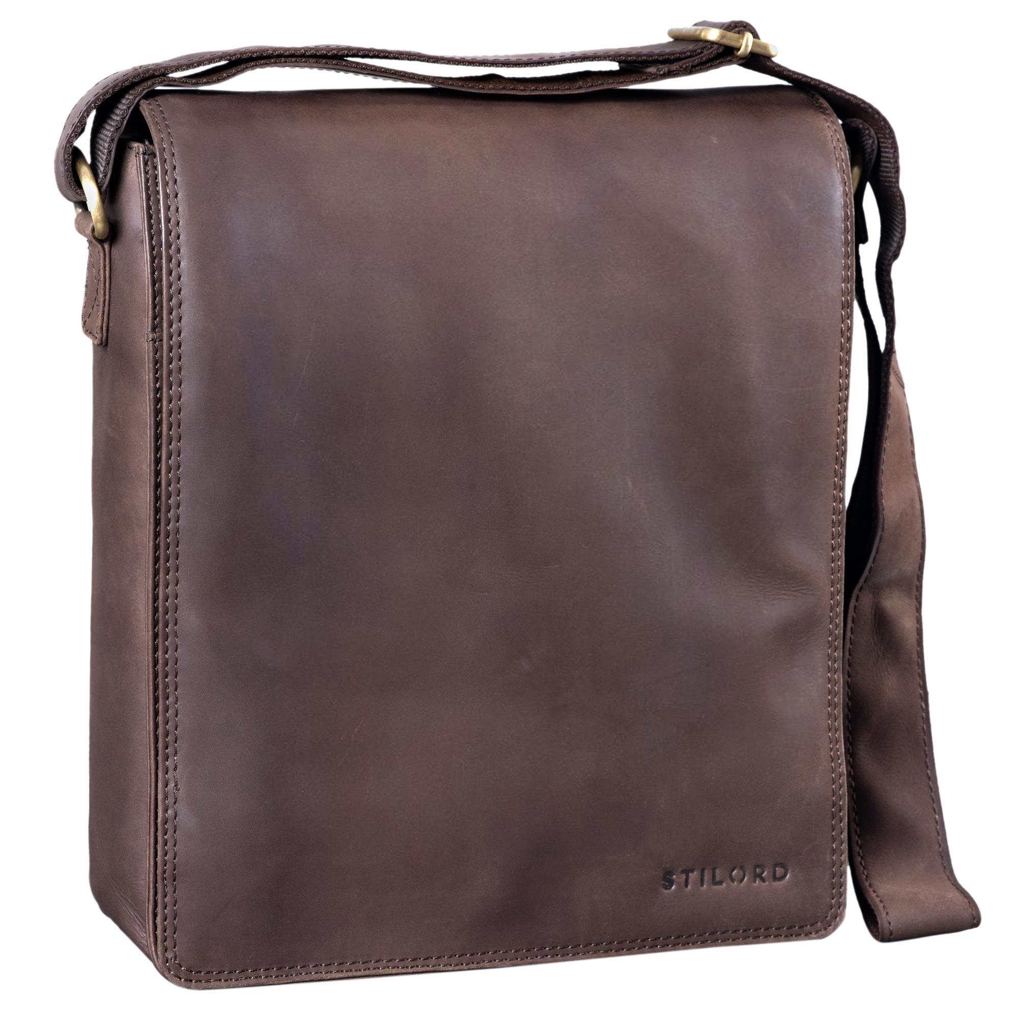 Farbe:Cognac STILORD Lars Vintage Umh/ängetasche Leder Herren f/ür 13,3 Zoll Tablet MacBooks und iPad Schultertasche Herrentasche Messenger Bag Echtleder braun