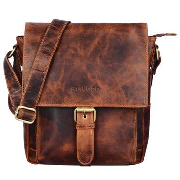 """STILORD """"Nevio"""" Herrentasche Leder Umhängetasche kleine Messenger Bag elegante Handtasche im Vintage Design Schultertasche für 10.1 Zoll Tablet iPad echtes Leder Farbe: kara - cognac"""