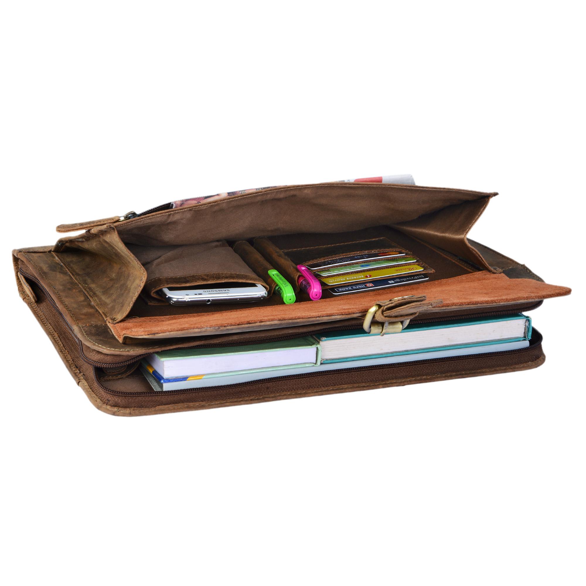 """STILORD """"Emilius"""" Aktenmappe Leder A4 Vintage Konferenzmappe mit Reißverschluss Schreibmappe für 13,3 Zoll Laptop MacBook elegante Konferenzmappe Echtleder - Bild 12"""