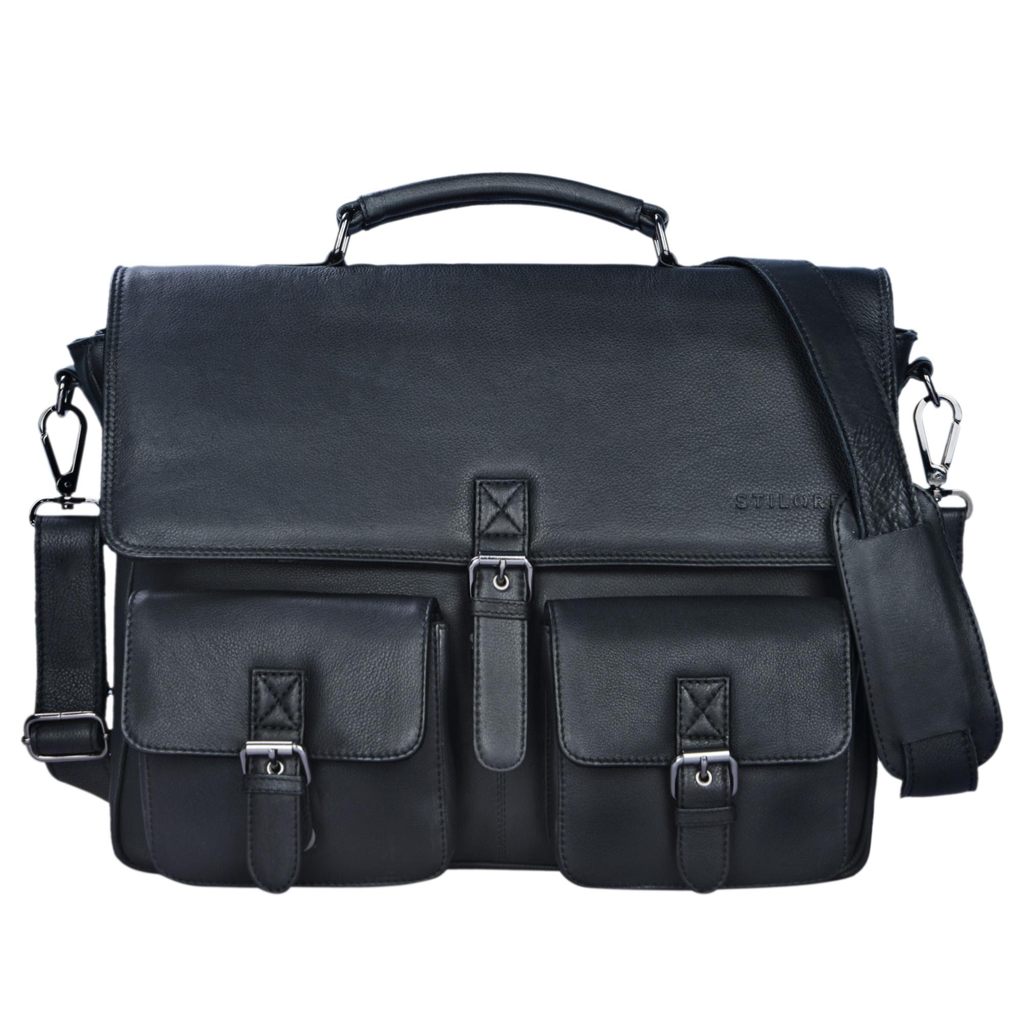 """STILORD """"Victor"""" Vintage Aktentasche Herren Leder moderne Businesstasche für große A4 Aktenordner XL Umhängetasche 15.6 Zoll mit Dreifachtrenner aus echtem Leder - Bild 16"""