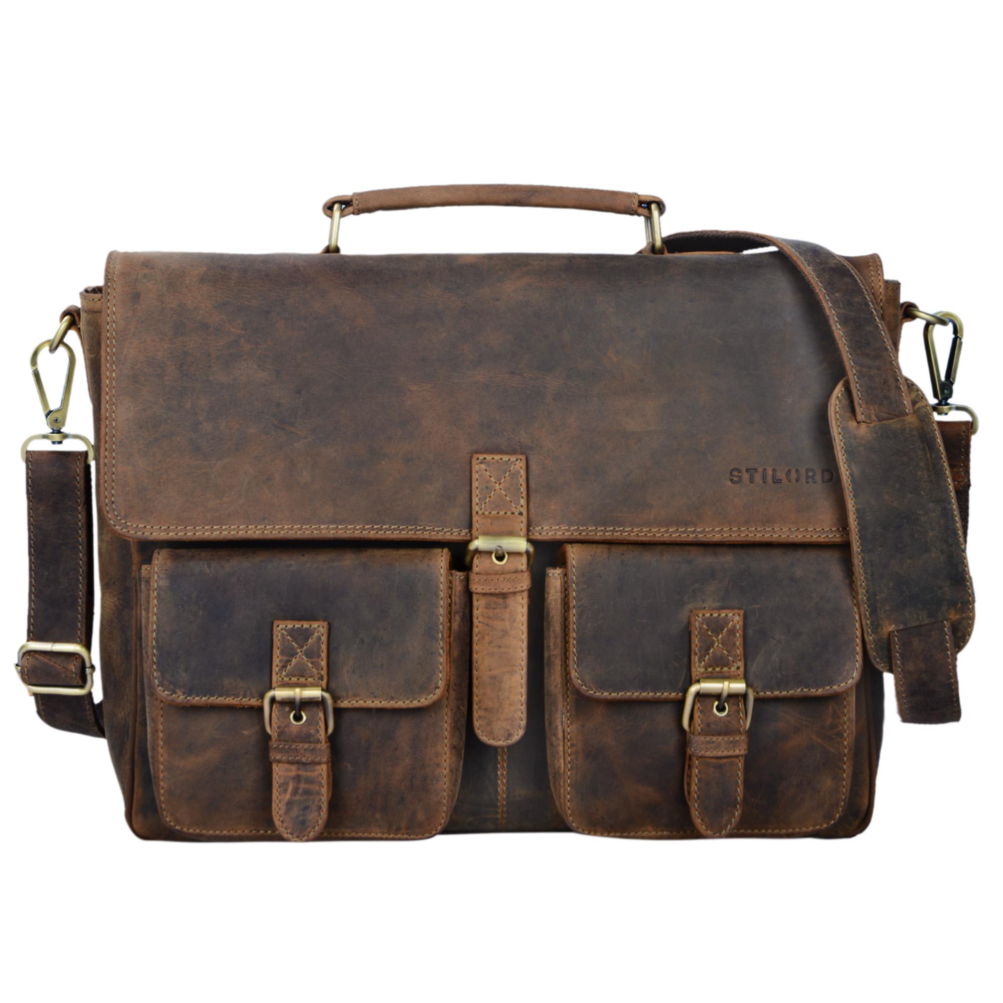 """STILORD """"Victor"""" Vintage Aktentasche Herren Leder moderne Businesstasche für große A4 Aktenordner XL Umhängetasche 15.6 Zoll mit Dreifachtrenner aus echtem Leder - Bild 9"""