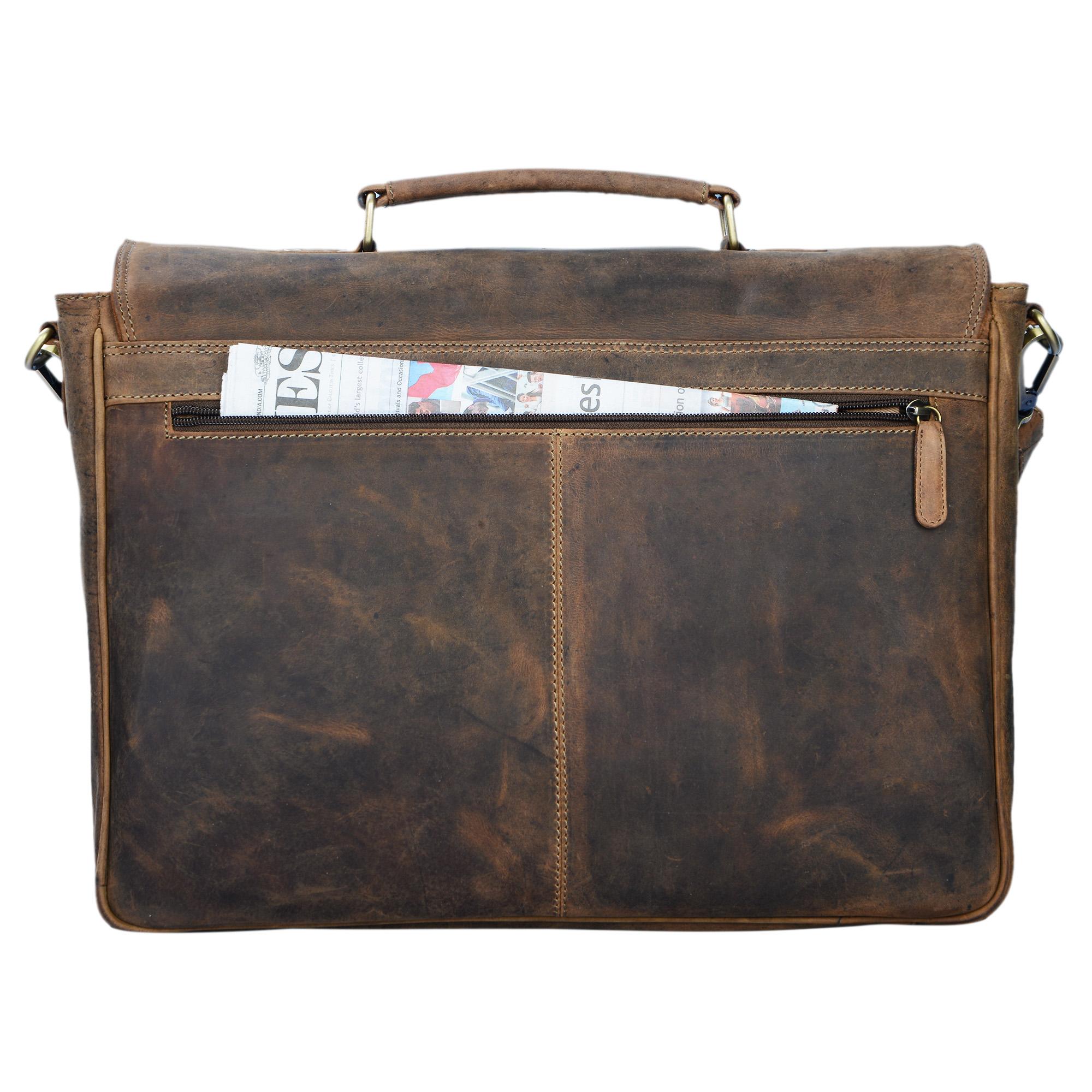 """STILORD """"Victor"""" Vintage Aktentasche Herren Leder moderne Businesstasche für große A4 Aktenordner XL Umhängetasche 15.6 Zoll mit Dreifachtrenner aus echtem Leder - Bild 14"""