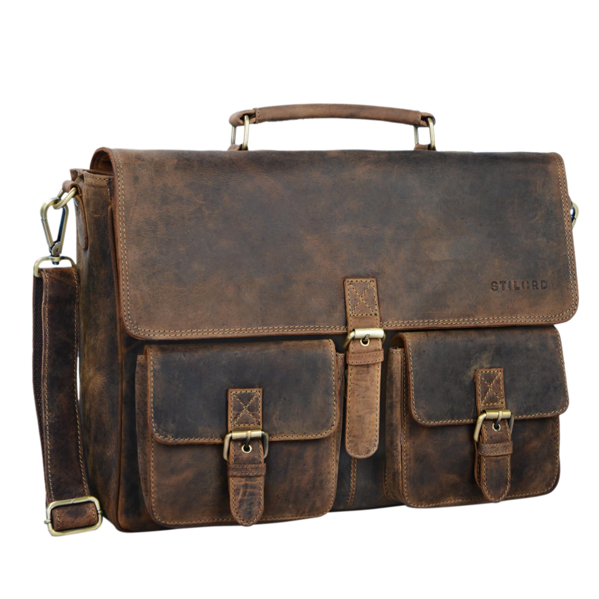 """STILORD """"Victor"""" Vintage Aktentasche Herren Leder moderne Businesstasche für große A4 Aktenordner XL Umhängetasche 15.6 Zoll mit Dreifachtrenner aus echtem Leder - Bild 8"""