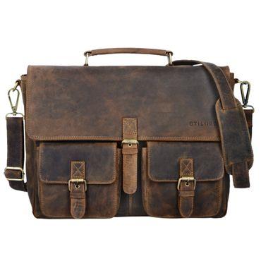 """STILORD """"Victor"""" Vintage Aktentasche Herren Leder moderne Businesstasche für große A4 Aktenordner XL Umhängetasche 15.6 Zoll mit Dreifachtrenner aus echtem Leder – Bild 9"""