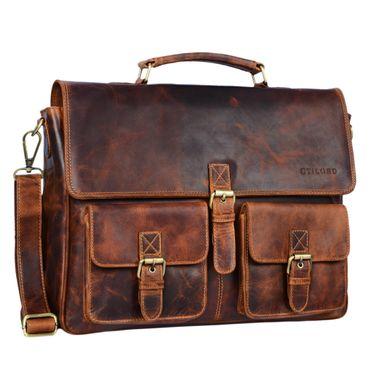 """STILORD """"Victor"""" Vintage Aktentasche Herren Leder moderne Businesstasche für große A4 Aktenordner XL Umhängetasche 15.6 Zoll mit Dreifachtrenner aus echtem Leder"""
