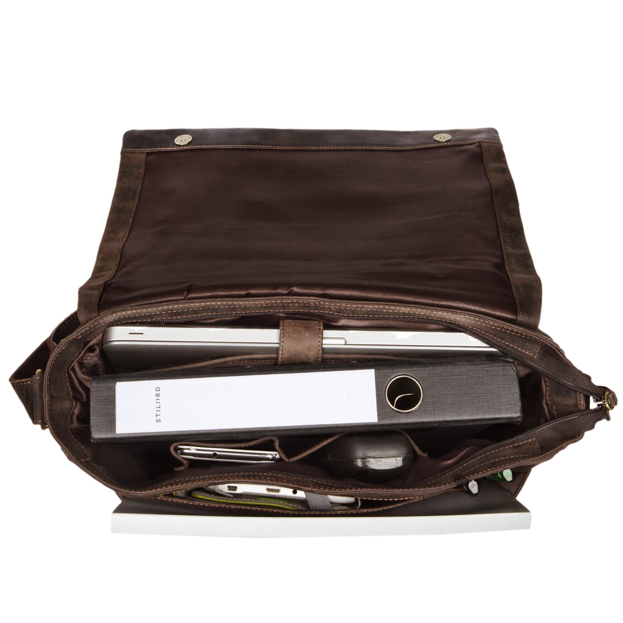 """STILORD """"Patrick"""" Vintage Schultertasche aus echtem Rinds-Leder, mit Laptopfach, Umhängetasche aufsteckbar Unitasche Leder - Bild 10"""