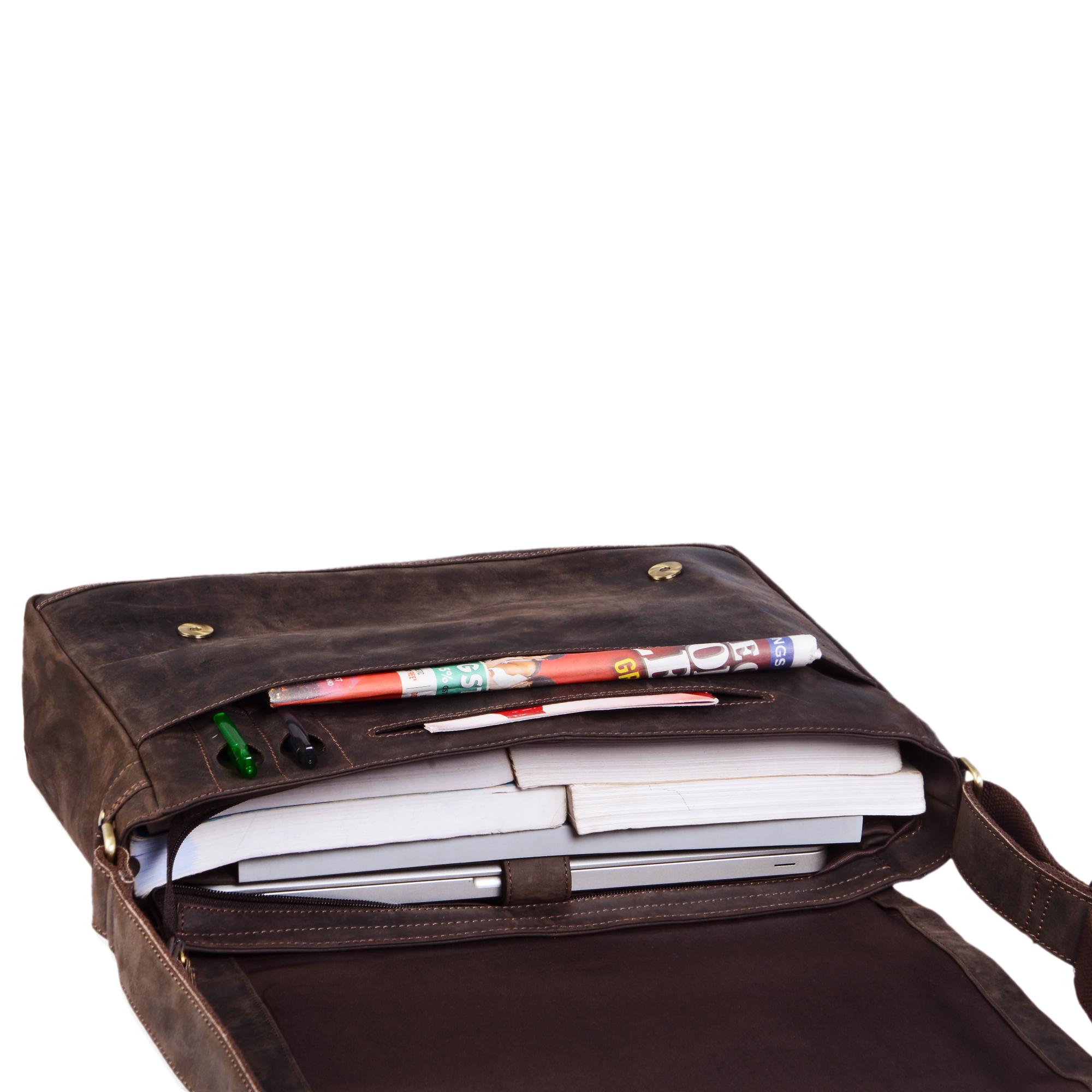 """STILORD """"Patrick"""" Vintage Schultertasche aus echtem Rinds-Leder, mit Laptopfach, Umhängetasche aufsteckbar Unitasche Leder - Bild 12"""