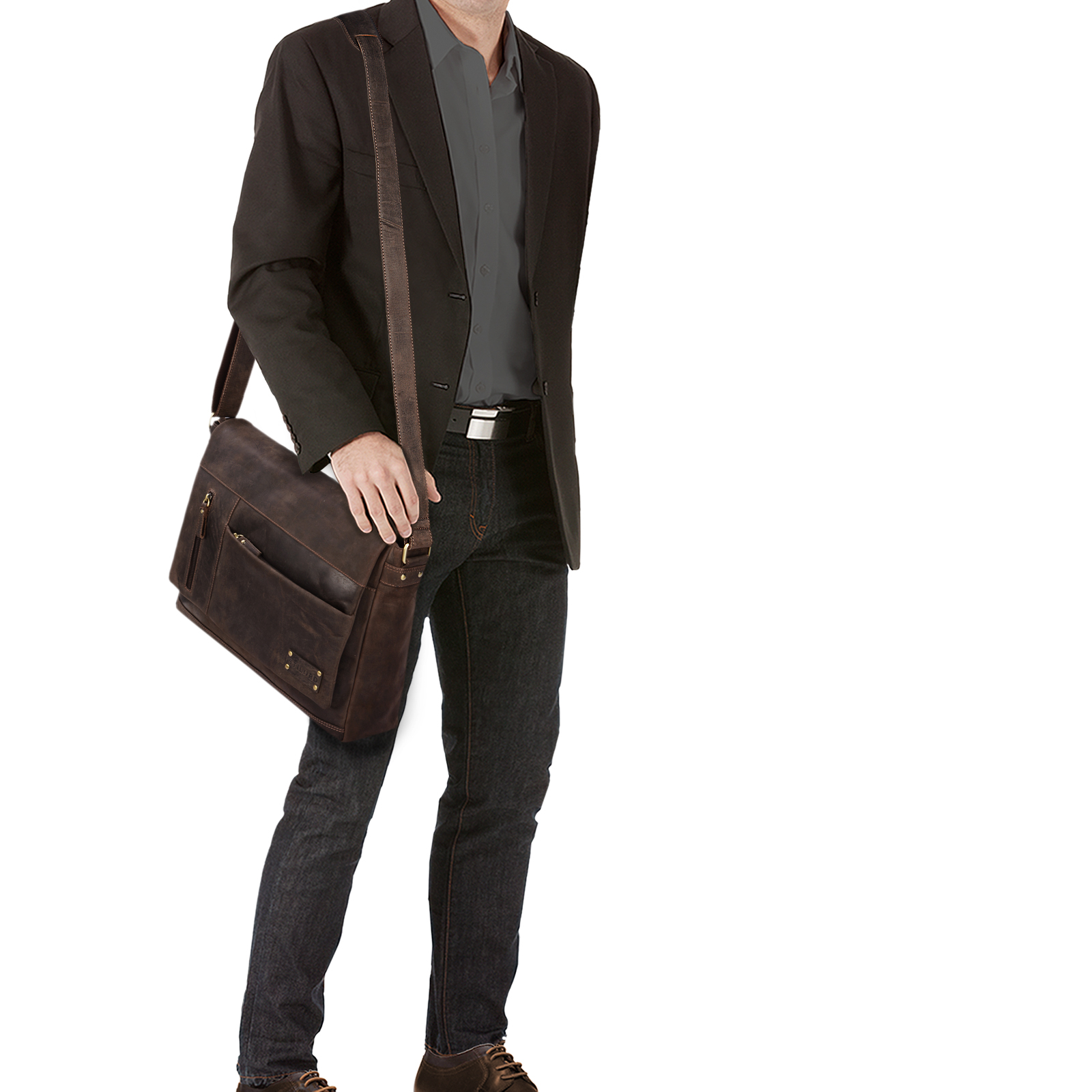 """STILORD """"Patrick"""" Vintage Schultertasche aus echtem Rinds-Leder, mit Laptopfach, Umhängetasche aufsteckbar Unitasche Leder - Bild 8"""