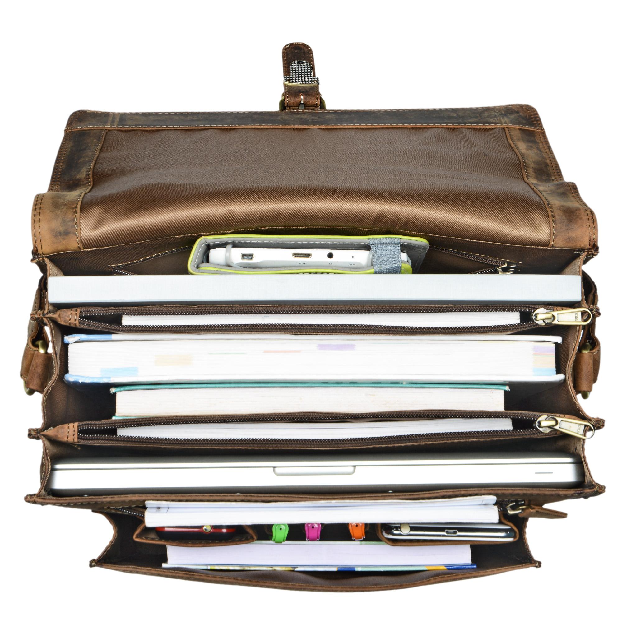 """STILORD """"Romeo"""" Kleine Aktentasche Leder für Herren Damen Vintage Businesstasche Bürotasche für DIN A4 Dokumente und 13,3 Zoll Laptops MacBooks aus echtem Leder - Bild 12"""