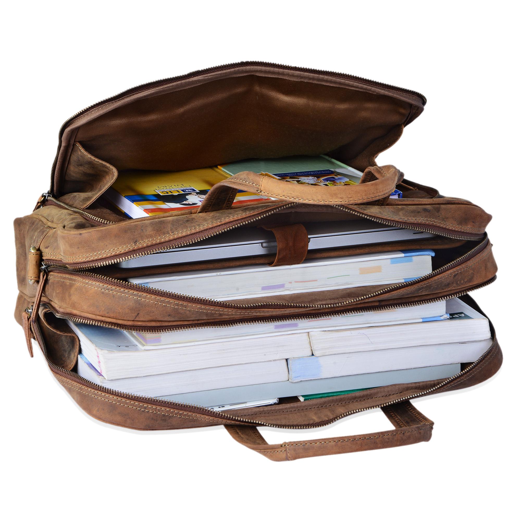 """STILORD """"Jaron"""" Vintage Ledertasche Leder Herren Damen 15,6 Zoll Laptoptasche Umhängetasche groß Aktentasche Arbeit Büro Uni echtes Rindsleder - Bild 7"""