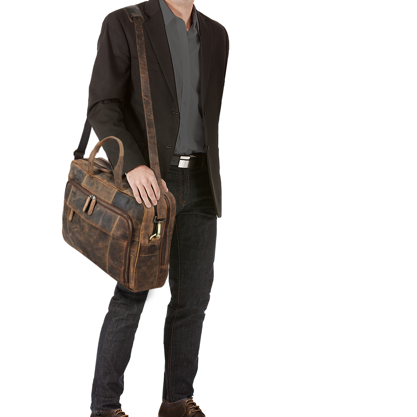 """STILORD """"Jaron"""" Vintage Ledertasche Leder Herren Damen 15,6 Zoll Laptoptasche Umhängetasche groß Aktentasche Arbeit Büro Uni echtes Rindsleder - Bild 3"""