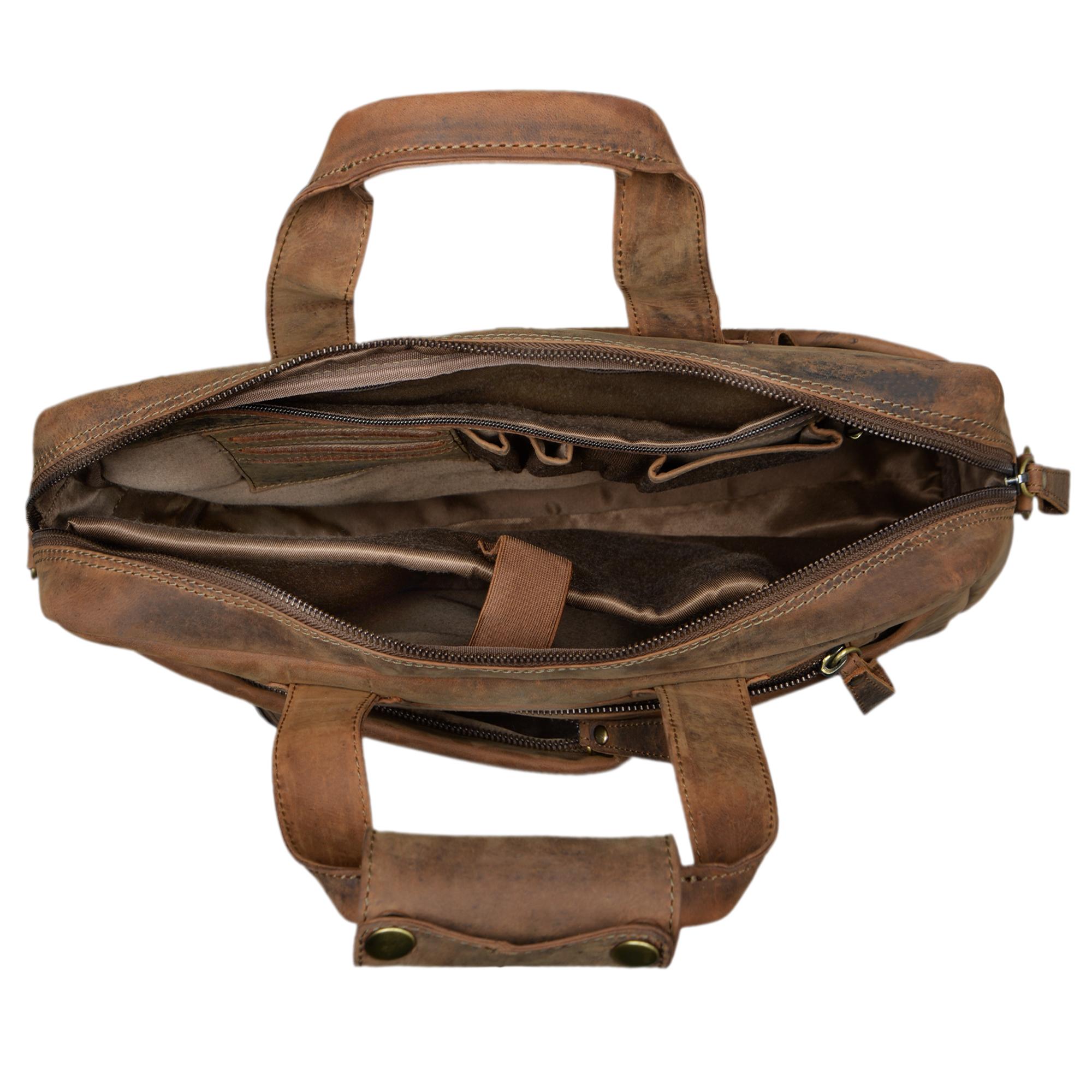 """STILORD """"Patrice"""" Große Leder Umhängetasche Herren Vintage Schultertasche für DIN A4 Ordner Businesstasche mit 15.6 Zoll Laptopfach Trolley aufsteckbar - Bild 11"""