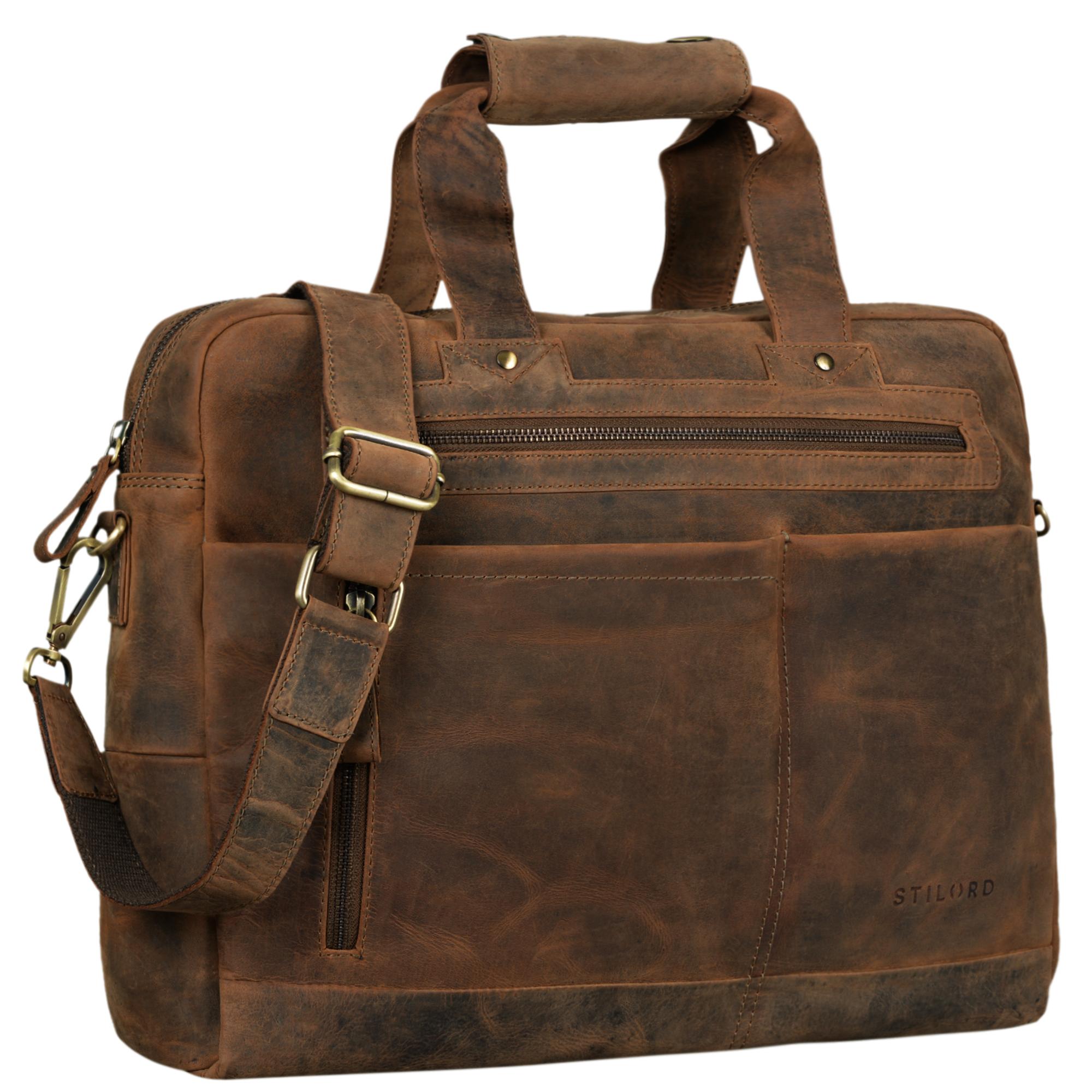 """STILORD """"Patrice"""" Große Leder Umhängetasche Herren Vintage Schultertasche für DIN A4 Ordner Businesstasche mit 15.6 Zoll Laptopfach Trolley aufsteckbar - Bild 8"""