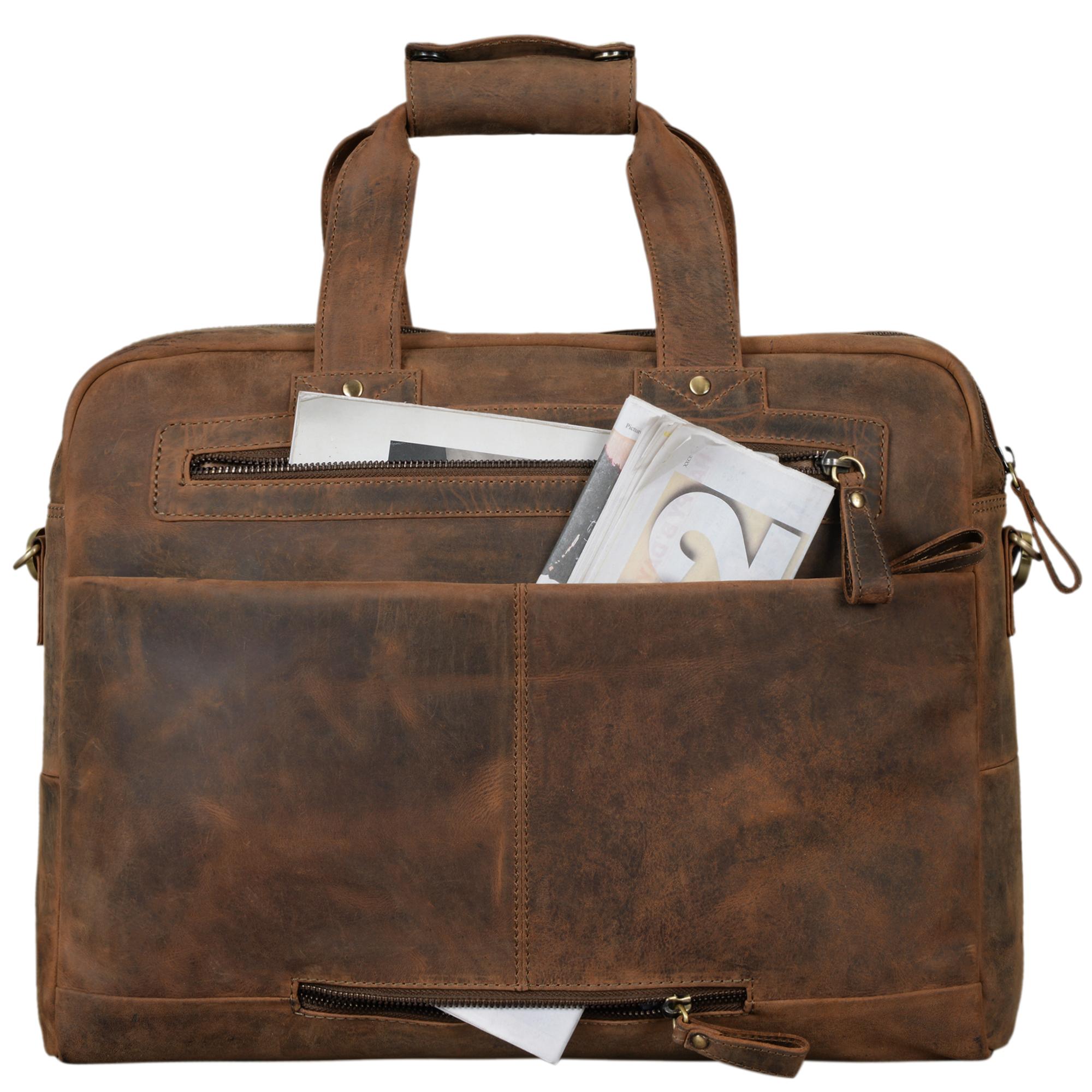 """STILORD """"Patrice"""" Große Leder Umhängetasche Herren Vintage Schultertasche für DIN A4 Ordner Businesstasche mit 15.6 Zoll Laptopfach Trolley aufsteckbar - Bild 14"""