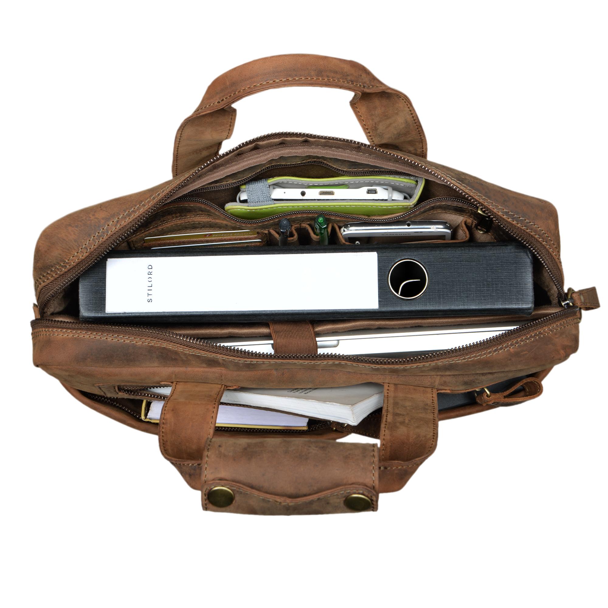 """STILORD """"Patrice"""" Große Leder Umhängetasche Herren Vintage Schultertasche für DIN A4 Ordner Businesstasche mit 15.6 Zoll Laptopfach Trolley aufsteckbar - Bild 12"""