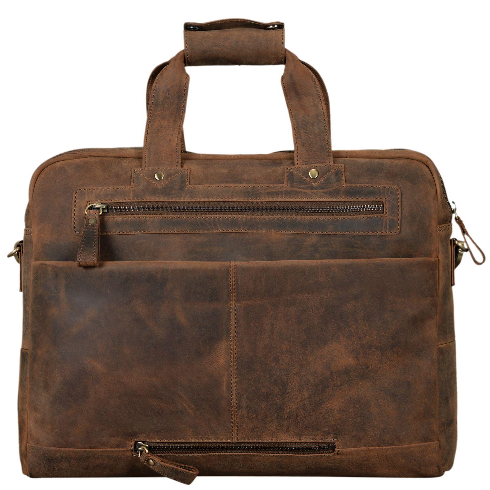 """STILORD """"Patrice"""" Große Leder Umhängetasche Herren Vintage Schultertasche für DIN A4 Ordner Businesstasche mit 15.6 Zoll Laptopfach Trolley aufsteckbar - Bild 13"""