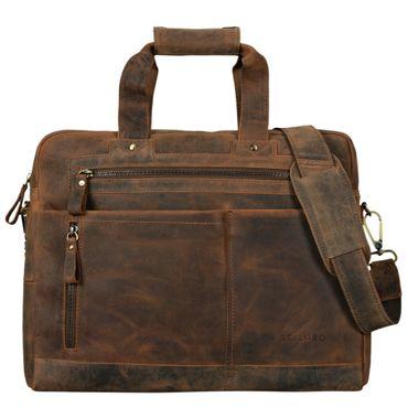 """STILORD """"Patrice"""" Große Leder Umhängetasche Herren Vintage Schultertasche für DIN A4 Ordner Businesstasche mit 15.6 Zoll Laptopfach Trolley aufsteckbar – Bild 9"""