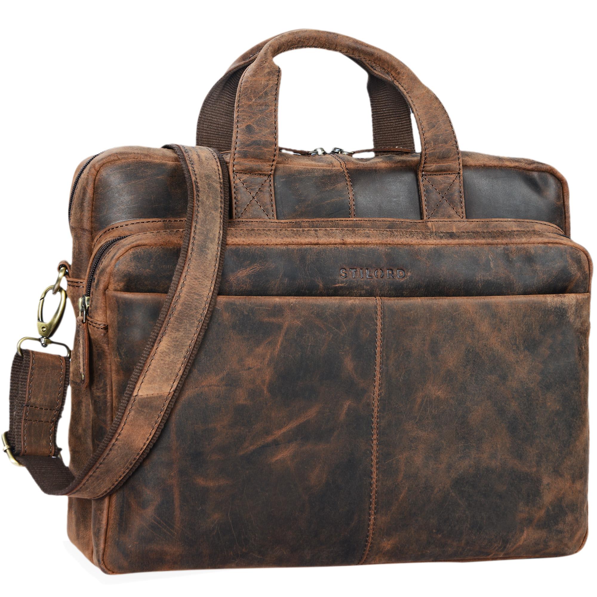 """STILORD """"Verus"""" Vintage Ledertasche groß Aktentasche Laptoptasche Umhängetasche mit Reißverschluss und abnehmbaren Schultergurt Lehrertasche Leder - Bild 8"""