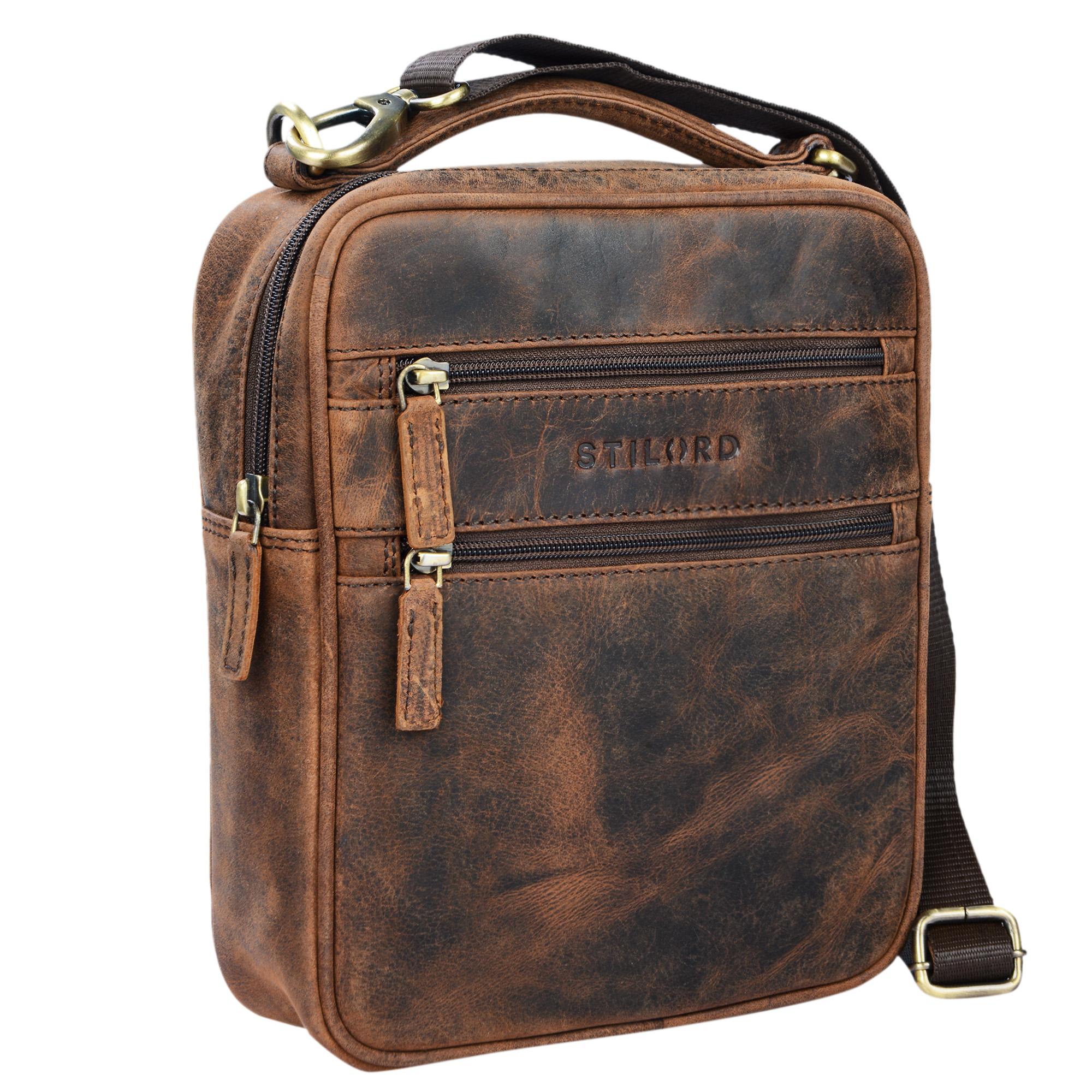stilord mats herren handtasche leder vintage kleine messenger bag mit tragegriff tablettasche. Black Bedroom Furniture Sets. Home Design Ideas