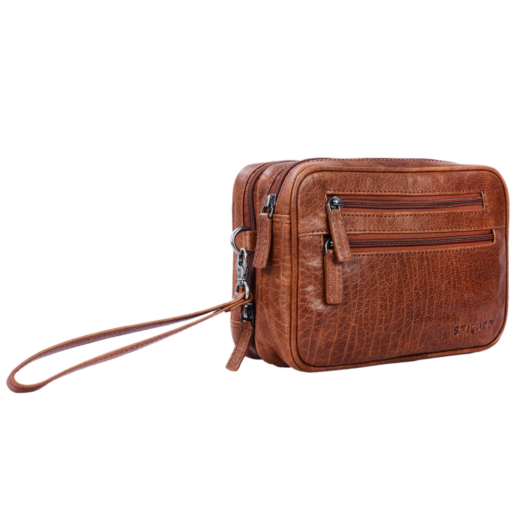 Vintage Lederhandtasche mit Doppelkammer