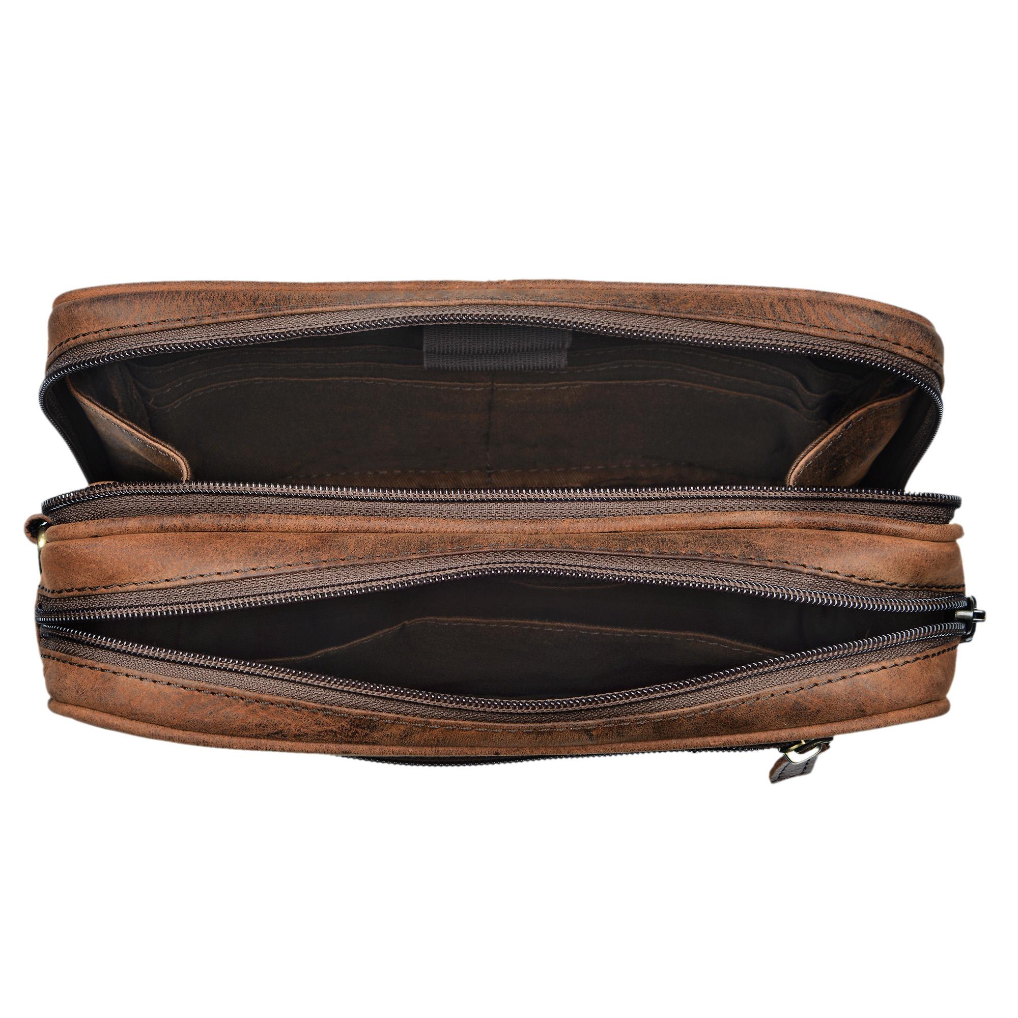 """STILORD """"Nero"""" Handgelenktasche Herren Leder mit Doppelkammer Vintage Handtasche für 8,4 Zoll Tablets ideal für Reisen Festival Herrenhandtasche echtes Leder - Bild 17"""