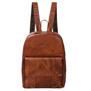 """STILORD """"Nalo"""" Rucksack Leder braun Vintage großer Damen Herren Daypack für Uni Schule Freizeit mit 13.3 Zoll Laptopfach für breite DIN A4 Ordner echtes Leder Farbe: brandy - braun"""