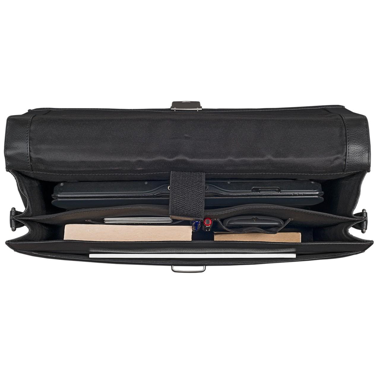 Businesstasche Laptoptasche 15,6 Zoll schwarz Leder elegante