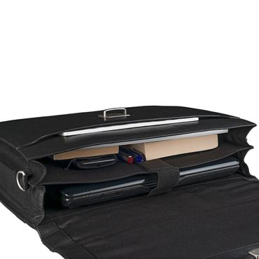 Elegante Ledertasche für die Arbeit Uni Büro Laptoptasche schwarz